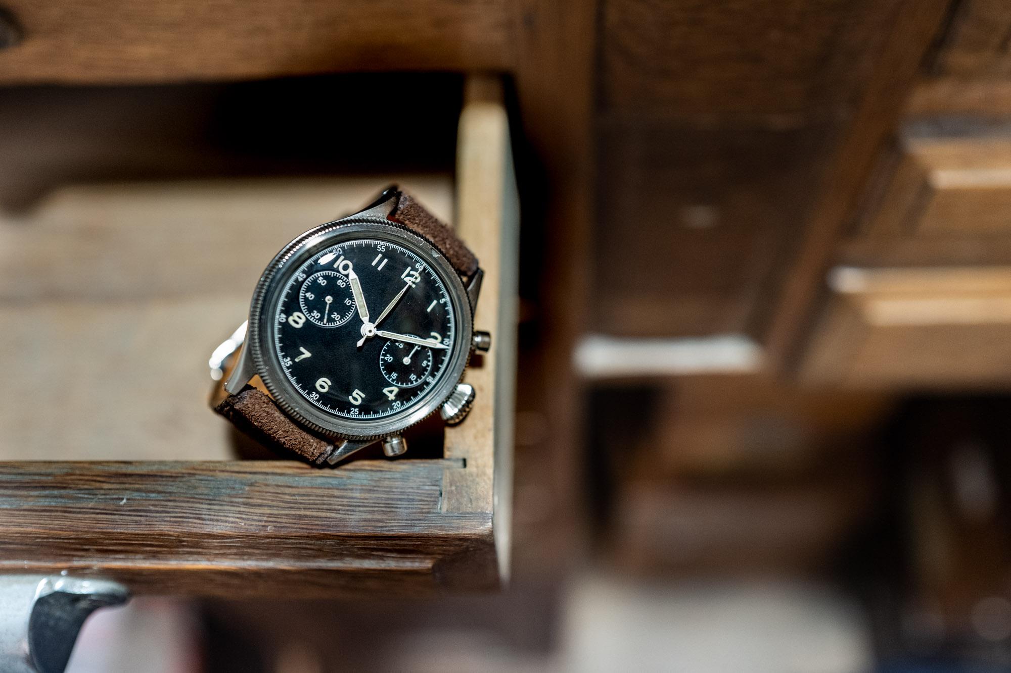 BREGUET. Chronographe Type XX militaire en acier – Vers 1954