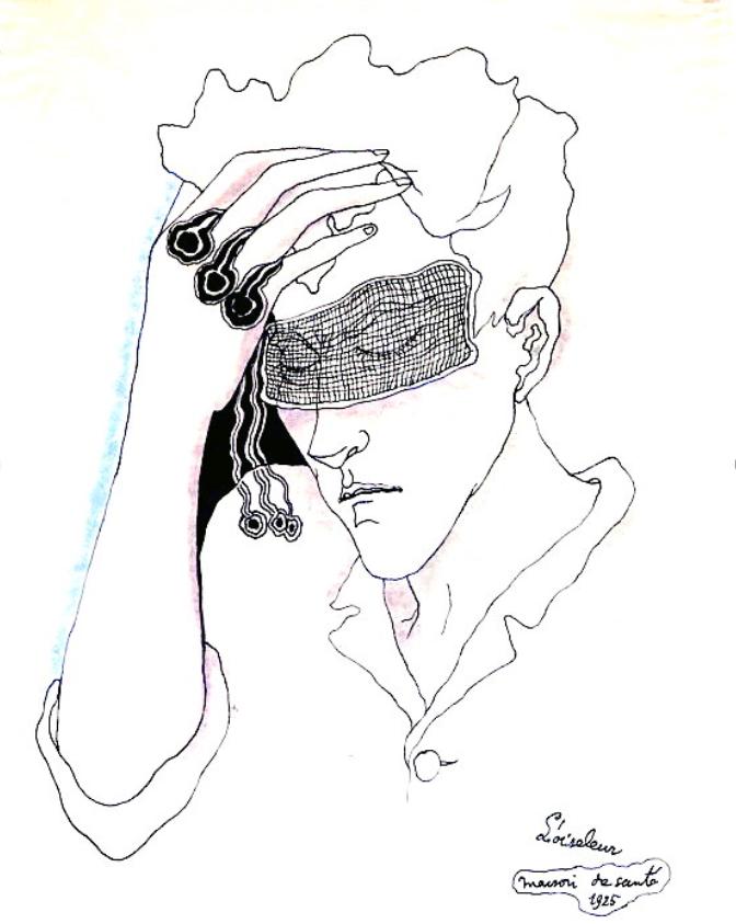 Autoportrait de Jean L'Oiseleur 1925 Encre de Chine sur papier © Comité Jean Cocteau