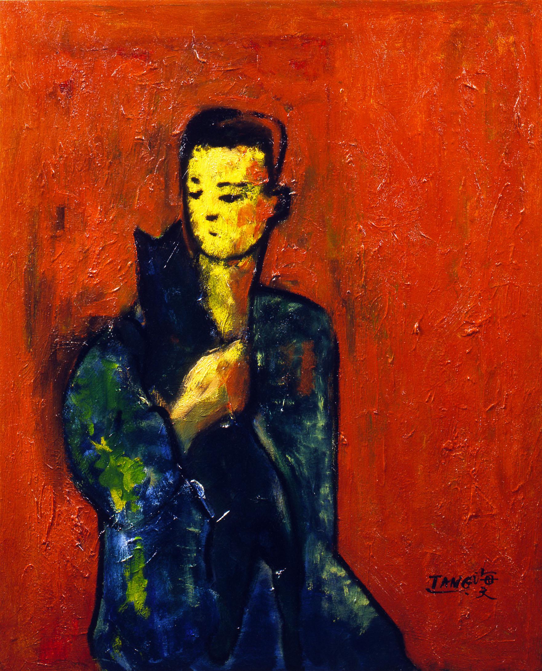 Autoportrait au chat, circa 1955-1960, huile sur toile, 61x50 cm.