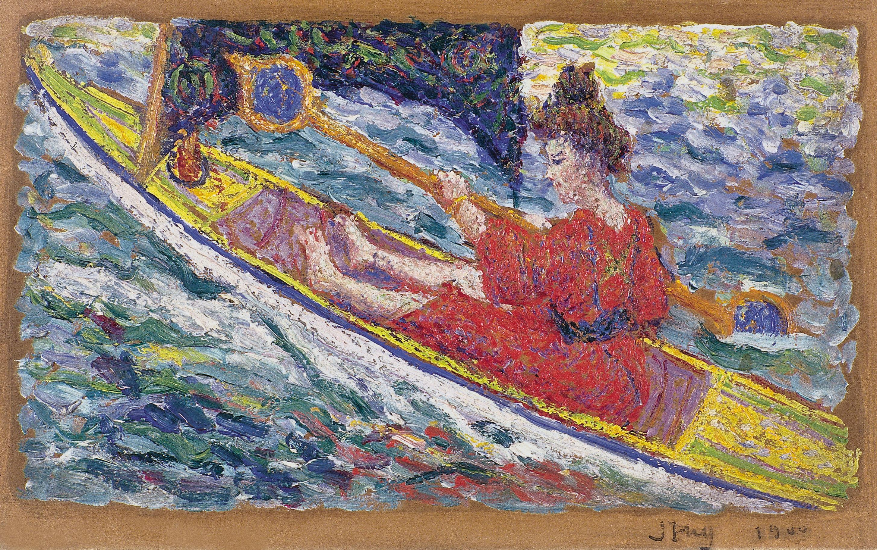 Marthe au canoë, 1900, collection particulière. Huile sur carton, 15,5 x 25,5 cm, collection Michel Puy