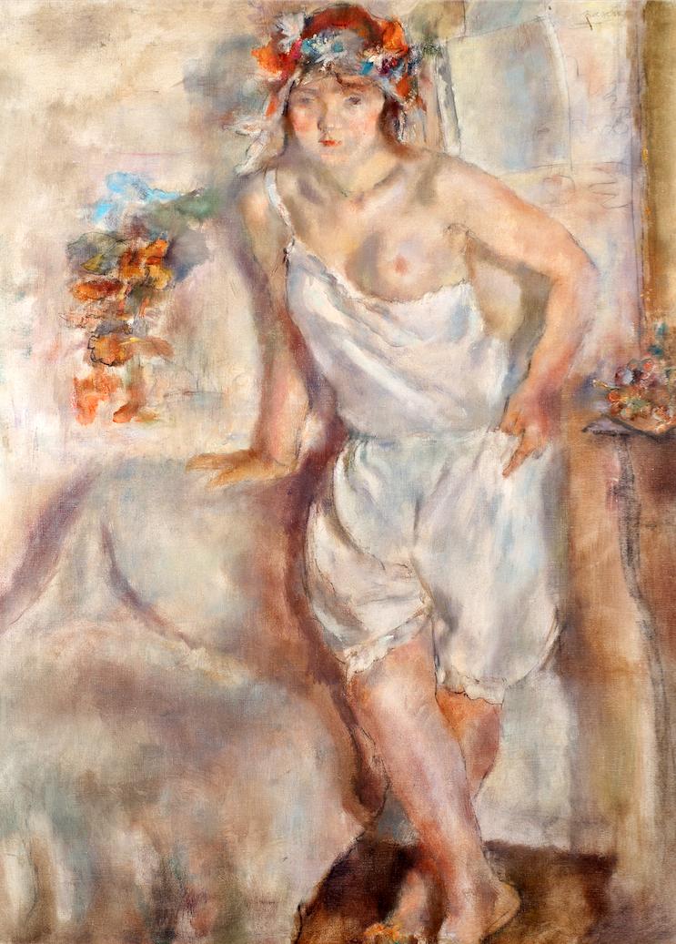 Jules PASCIN Geneviève à la couronne de fleurs ou Le coucher de la mariée, 1928 Huile sur toile, 100x85cm, signé en haut à droite, Coll. part.