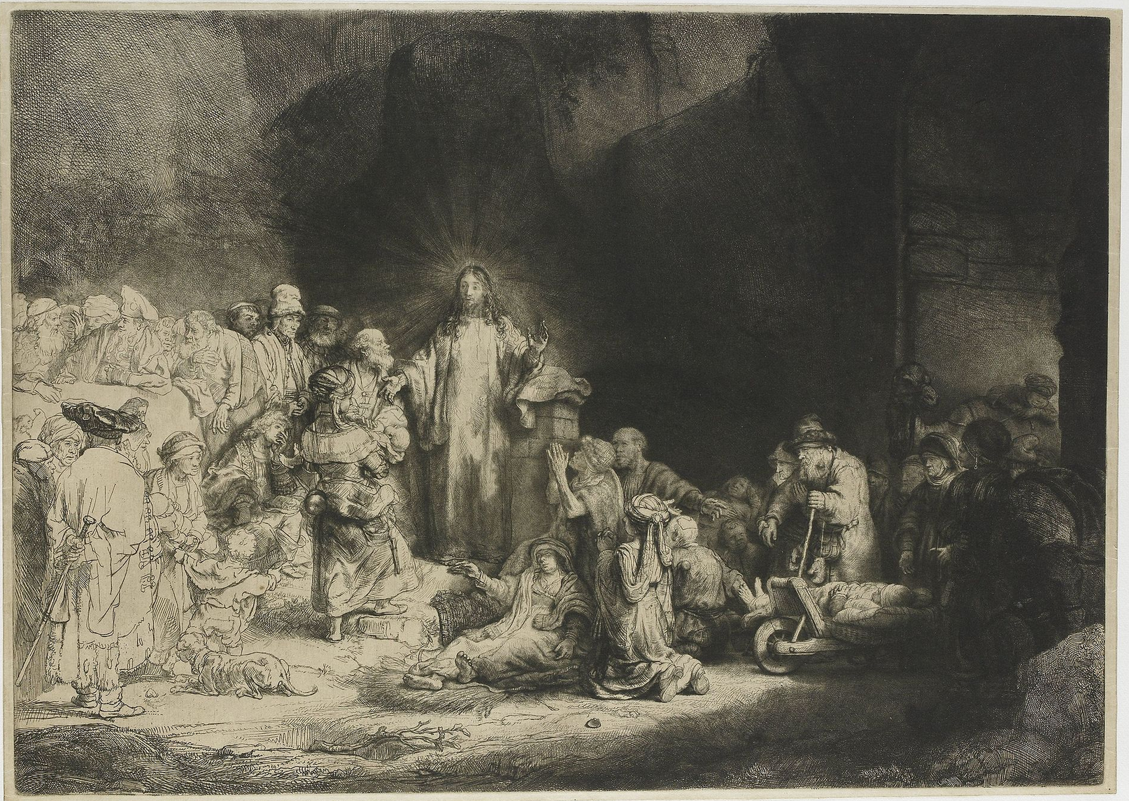 Rembrandt La Pièce aux cent florins Eau-forte, pointe sèche et burin 28,1x39,4cm, Rijksmuseum Amsterdam, National Gallery pf Art Washington, BNF, British Museum, MBA, Ottawa, The Frick Collection, Musée national of Art, Tokyo