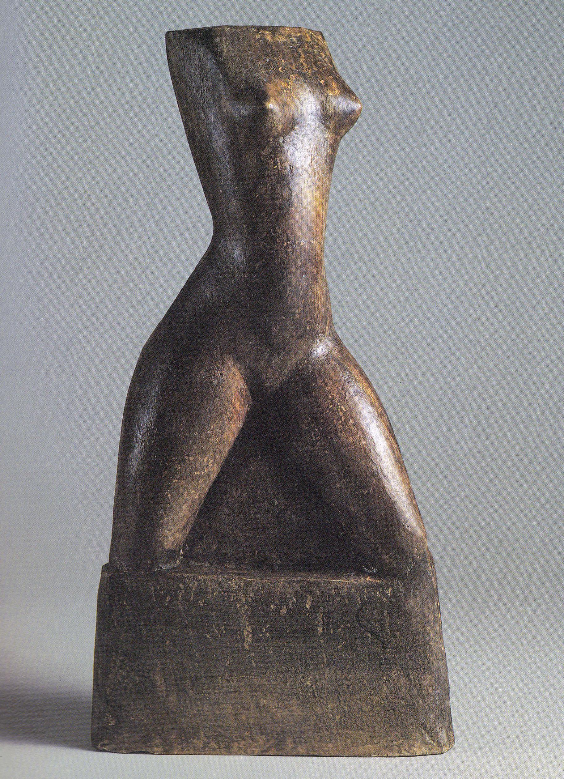 Torse 1934 - Plâtre modelé lissé, teinté, 48x20x10cm, Coll. part.