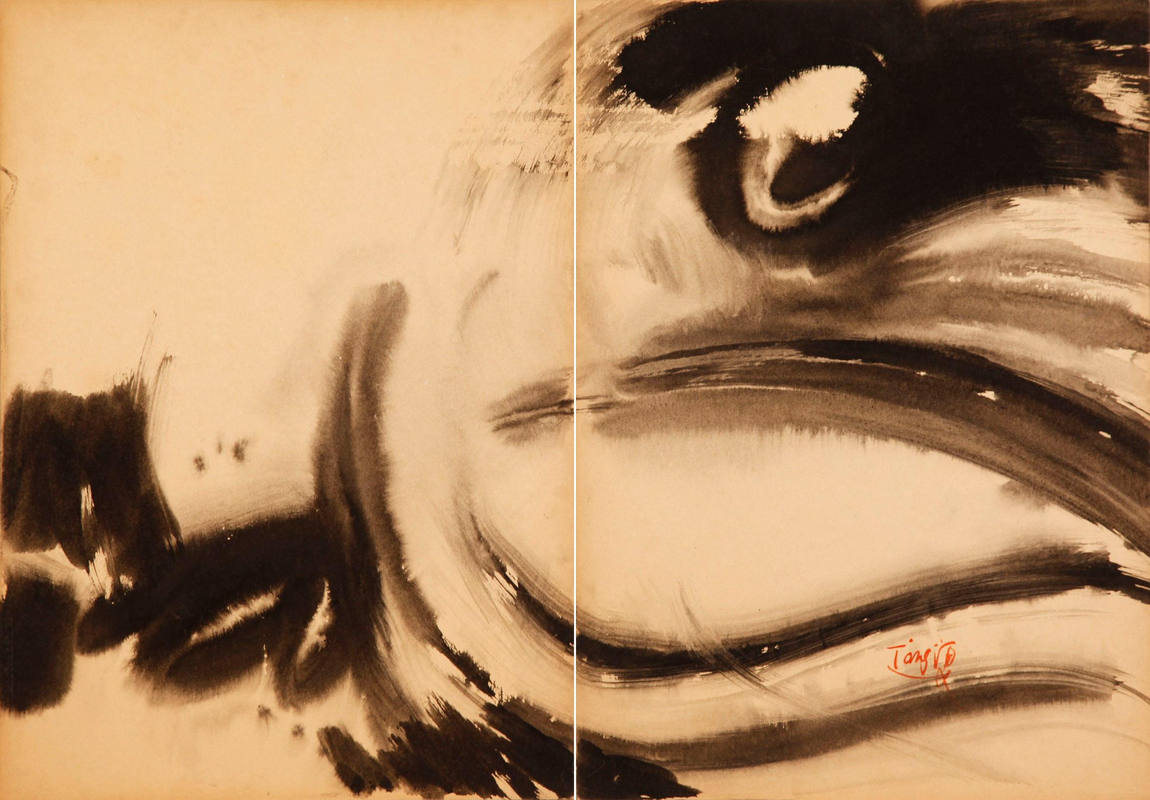 Naissance du dragon, 1970,encre sur Kyro_diptyque,70x100 cm, Collection du M+ Museum, Hong Kong
