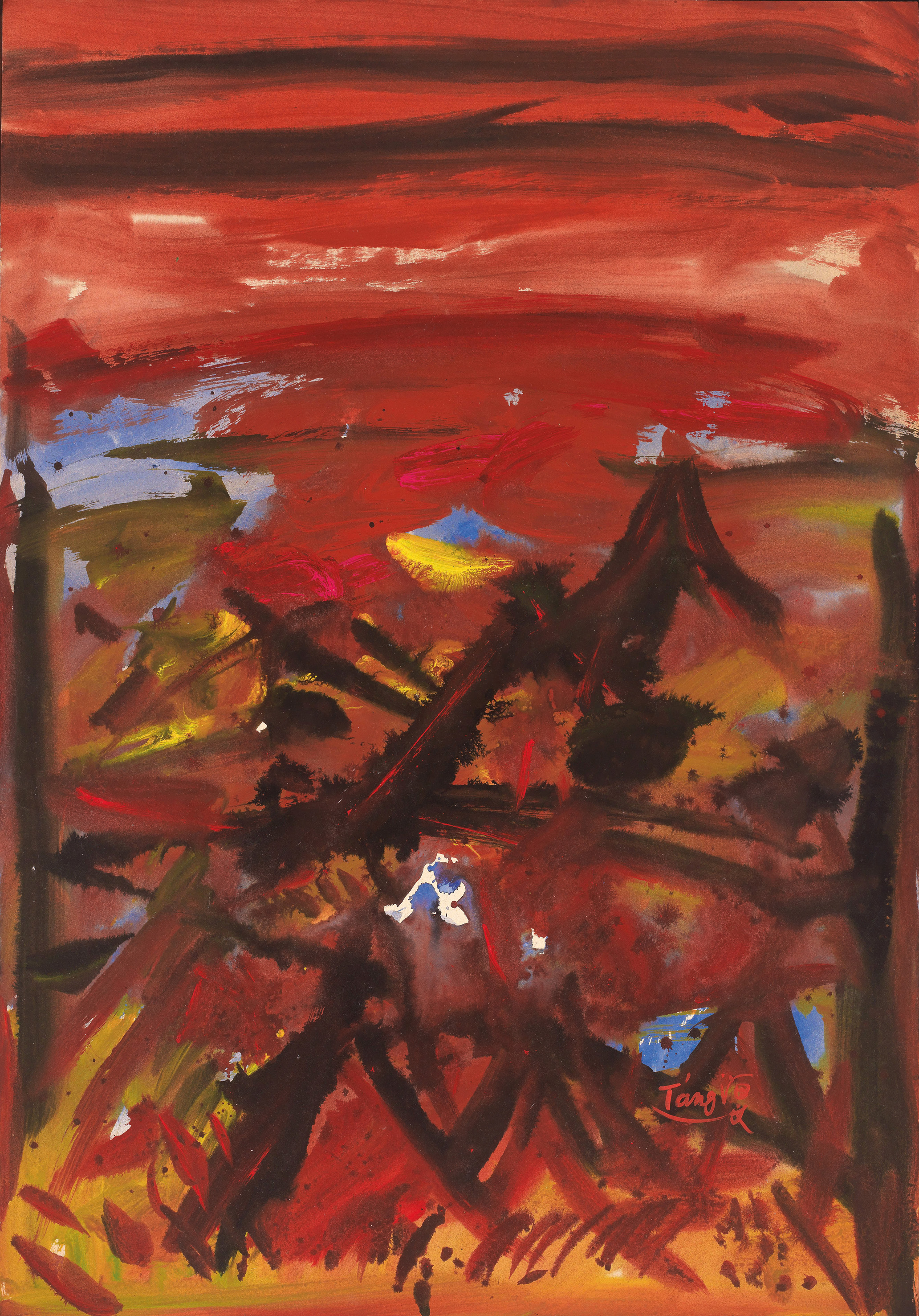 Sans titre, 1971, mix media sur Kyro, 100x70 cm
