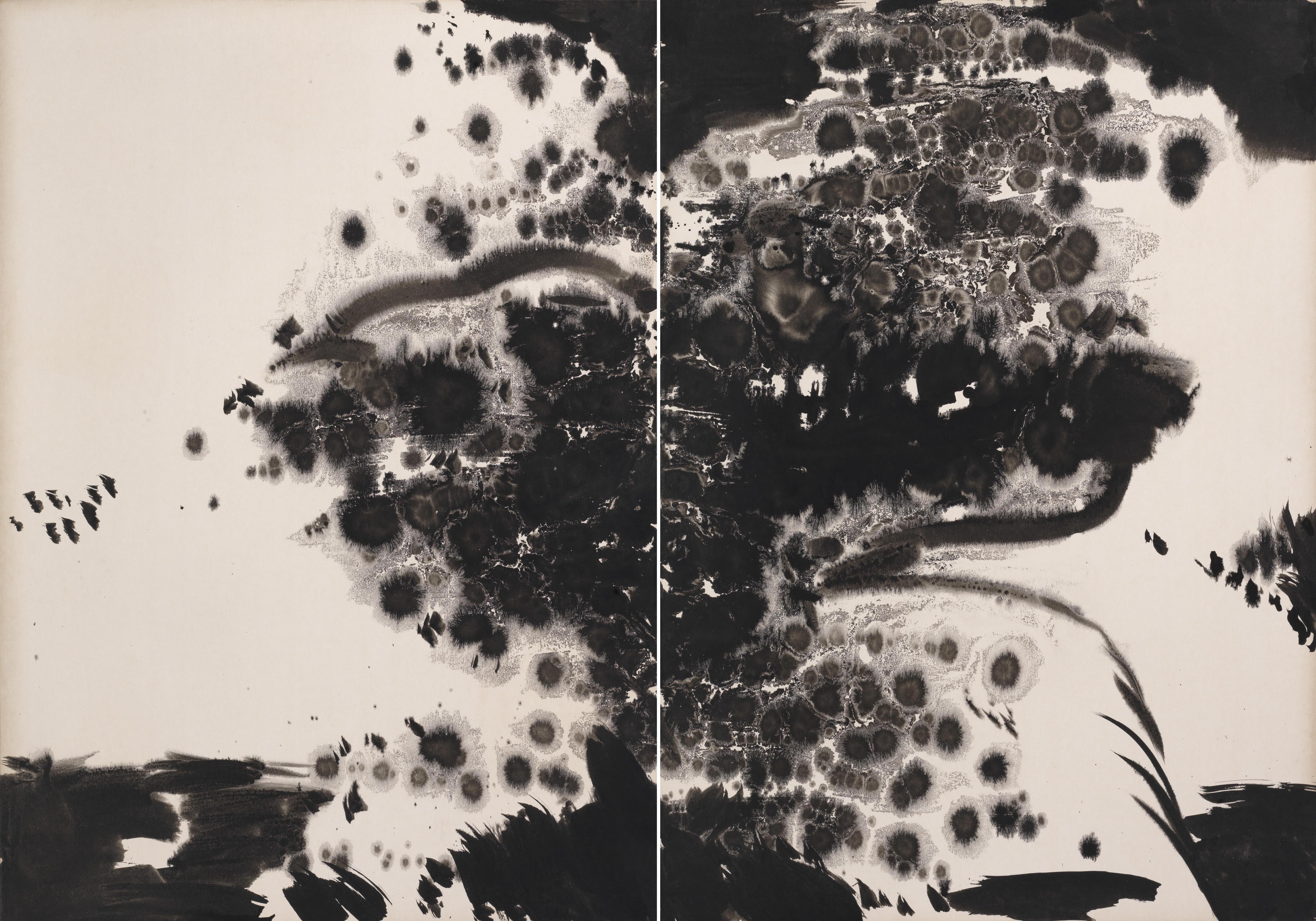 Sans titre, 1973:1975, encre sur carton Kyro, diptyque, 70x100 cm
