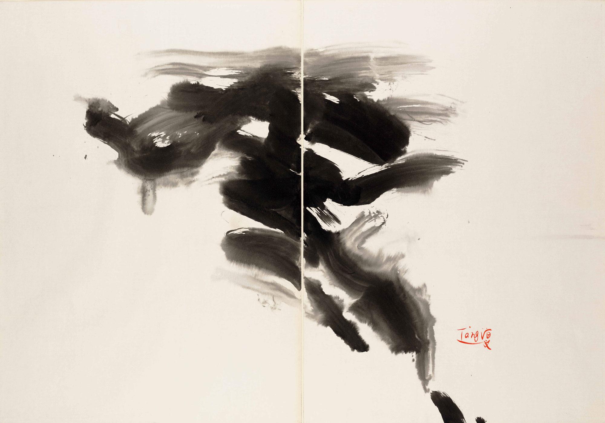 Sans titre, circa 1970, encre sur carton Kyro, diptyque, 70x100 cm