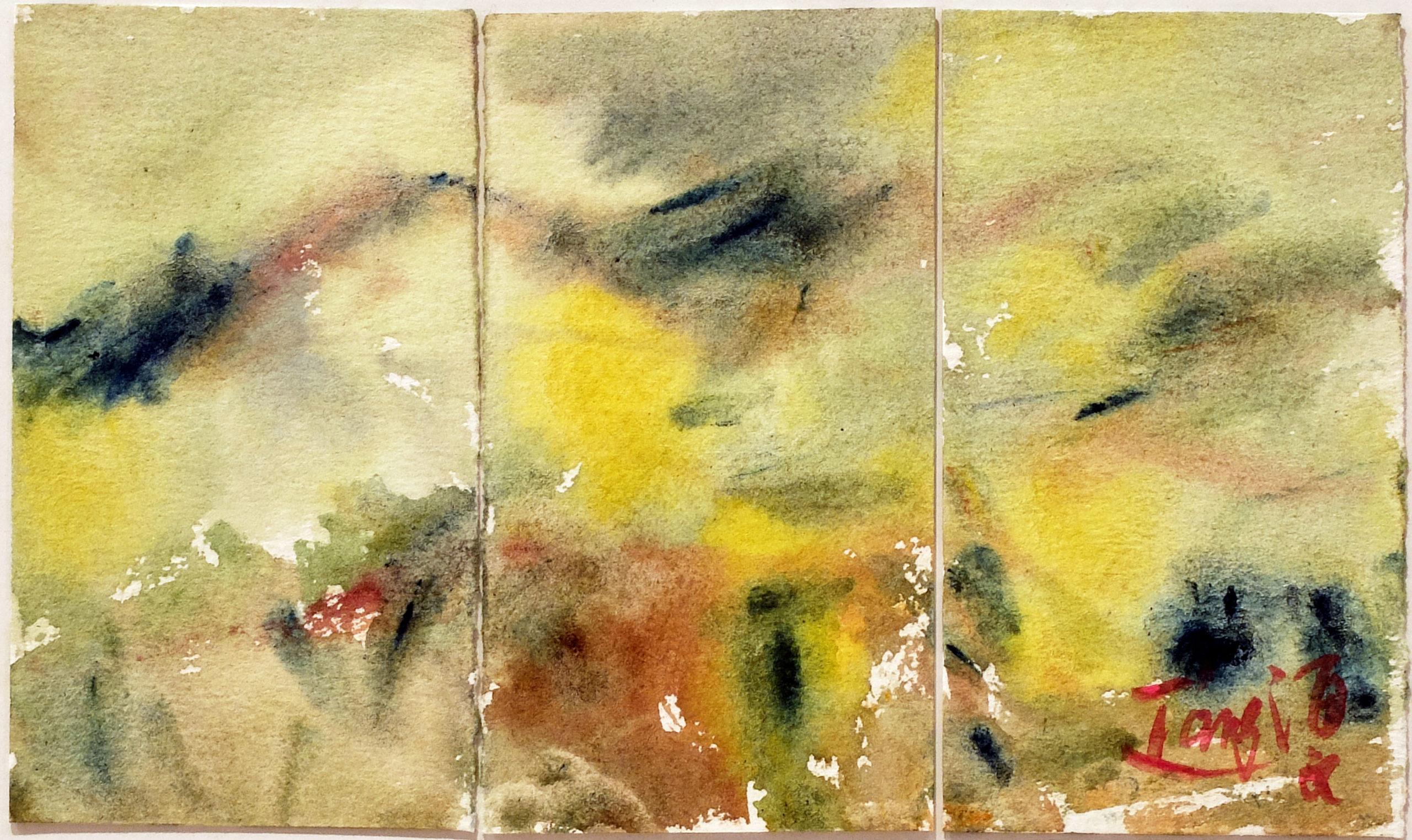 Sans titre, circa 1983, aquarelle sur papier Arches triptyque, 11,3x19 cm