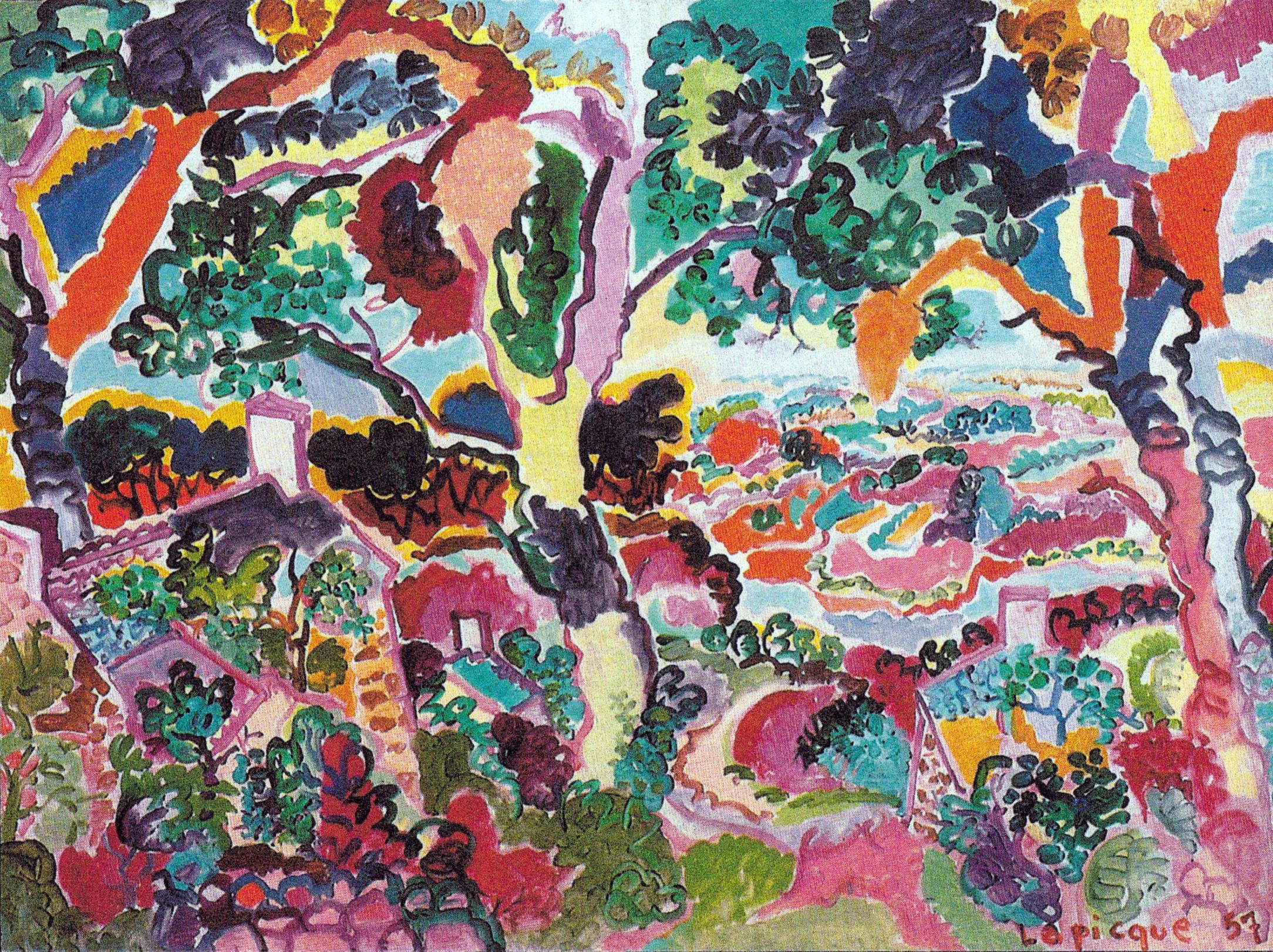 Charles Lapicque - Paysage aux bords du Leff 1957, Huile sur toile - Collection particulière