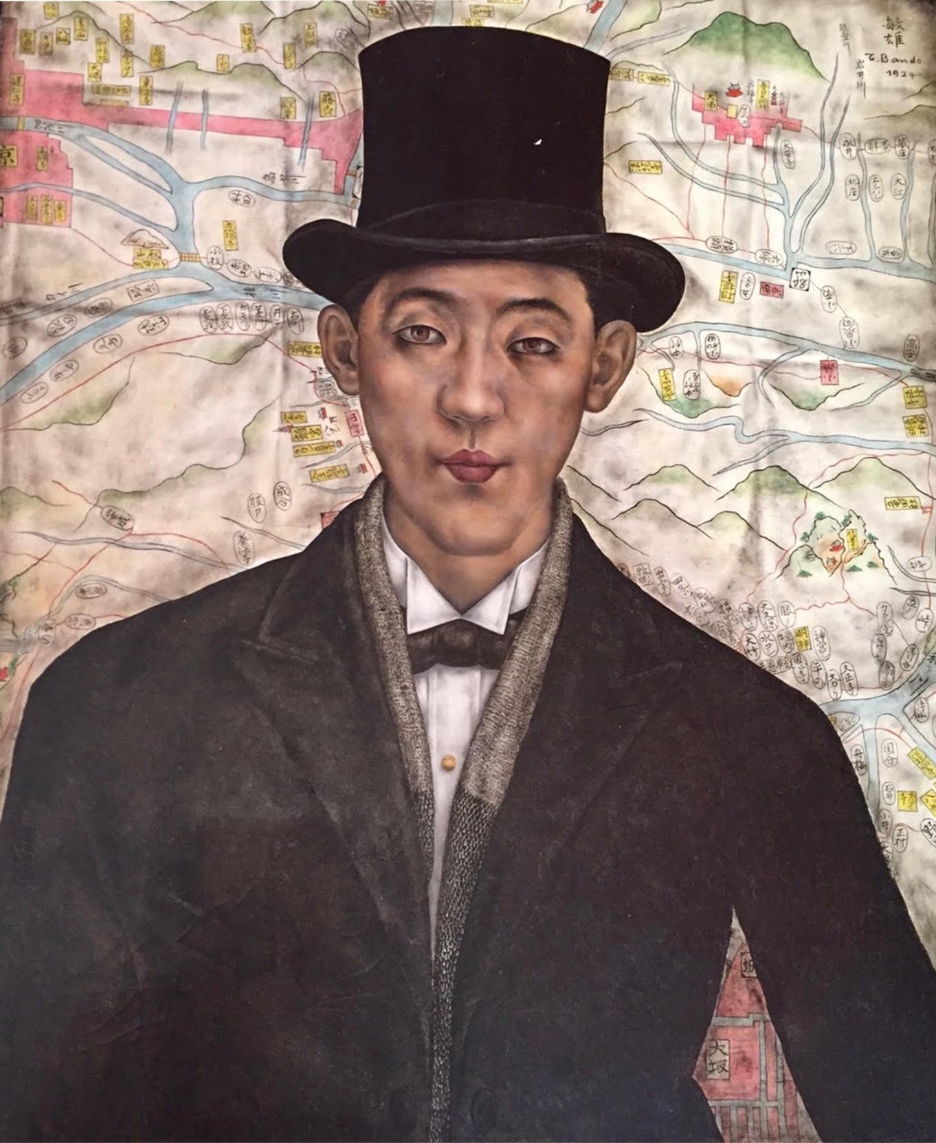 BANDO Autoportrait 1924 Huile sur toile Coll. part.