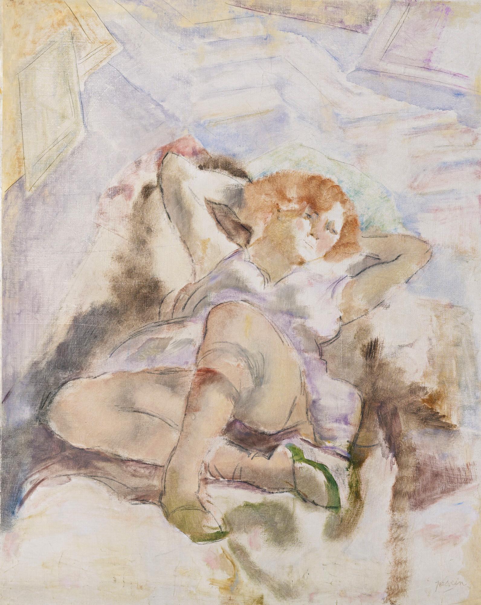 Jules PASCIN La Rousse (Jeune femme allongée) 1928 Huile sur toile, 92,3x73,4cm signé en bas à droite, Coll. part.