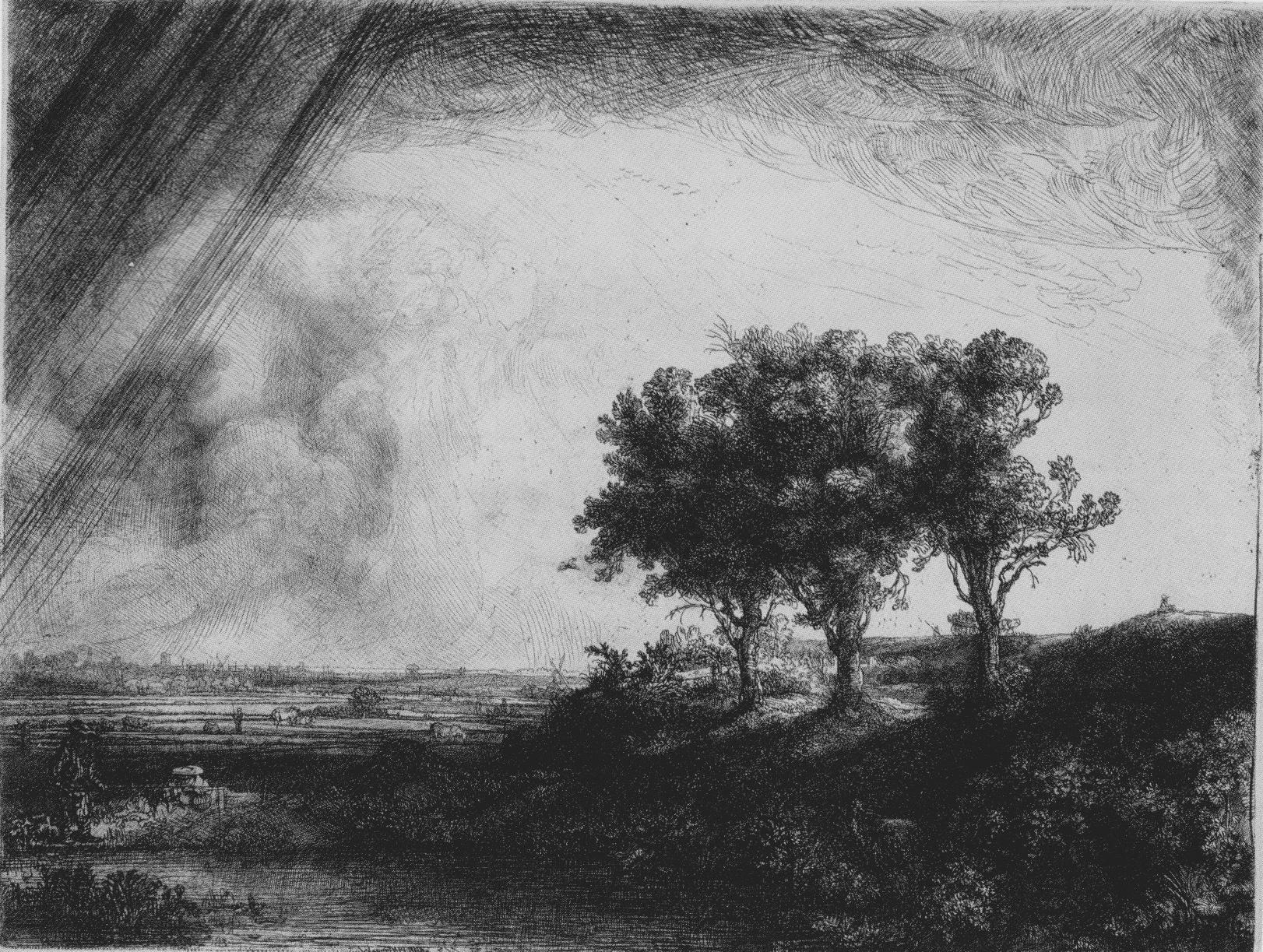 Rembrandt Le Paysage aux trois arbres 1643 Eau-forte, gravure sur cuivre et aiguille à froid 21,3x27,9cm (plaque) 21,7x28,4cm (feuille), Coll. part.