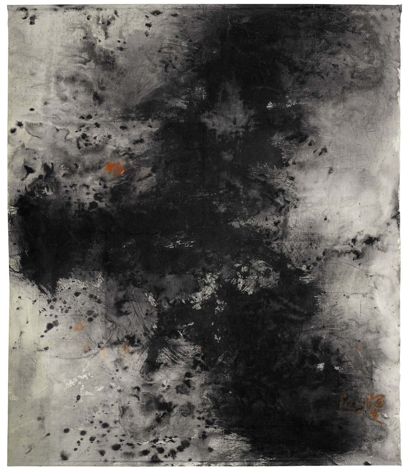 Sans titre, 1964/1966, encre sur toile de coton, 209,5x175,8 cm. Collection du M+ Museum, Hong Kong, Chine.