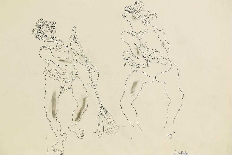 Pascin - Le Balai, Paris 1929, encre sur papier, 45 x 52,5 cm © archives Comité Pascin, Paris