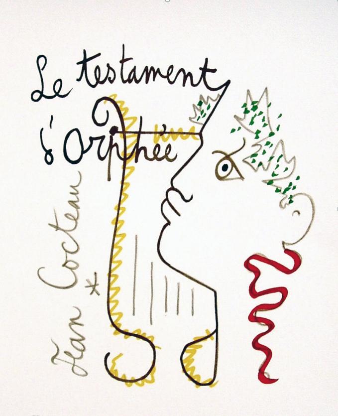 -Le Testament d'Orphée 1960 Dessin aux markers de couleurs sur papier