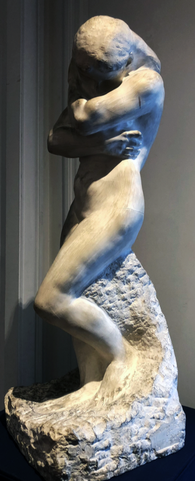 Auguste Rodin - Ève au rocher, petit modèle, 1881, Sculpture, Plâtre de l'artiste75 x 24 x 29 cm Signé et dédicacé sur le côté gauche de la base : « À mes amis, M et Mme Jaubert », « RODIN ». Cette oeuvre est à rapprocher de celles de la collection du musée Rodin