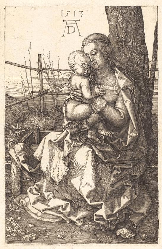 Albrecht Dürer La Vierge assise embrassant l'enfant Jésus 1513 Eau, forte, Coll. part.