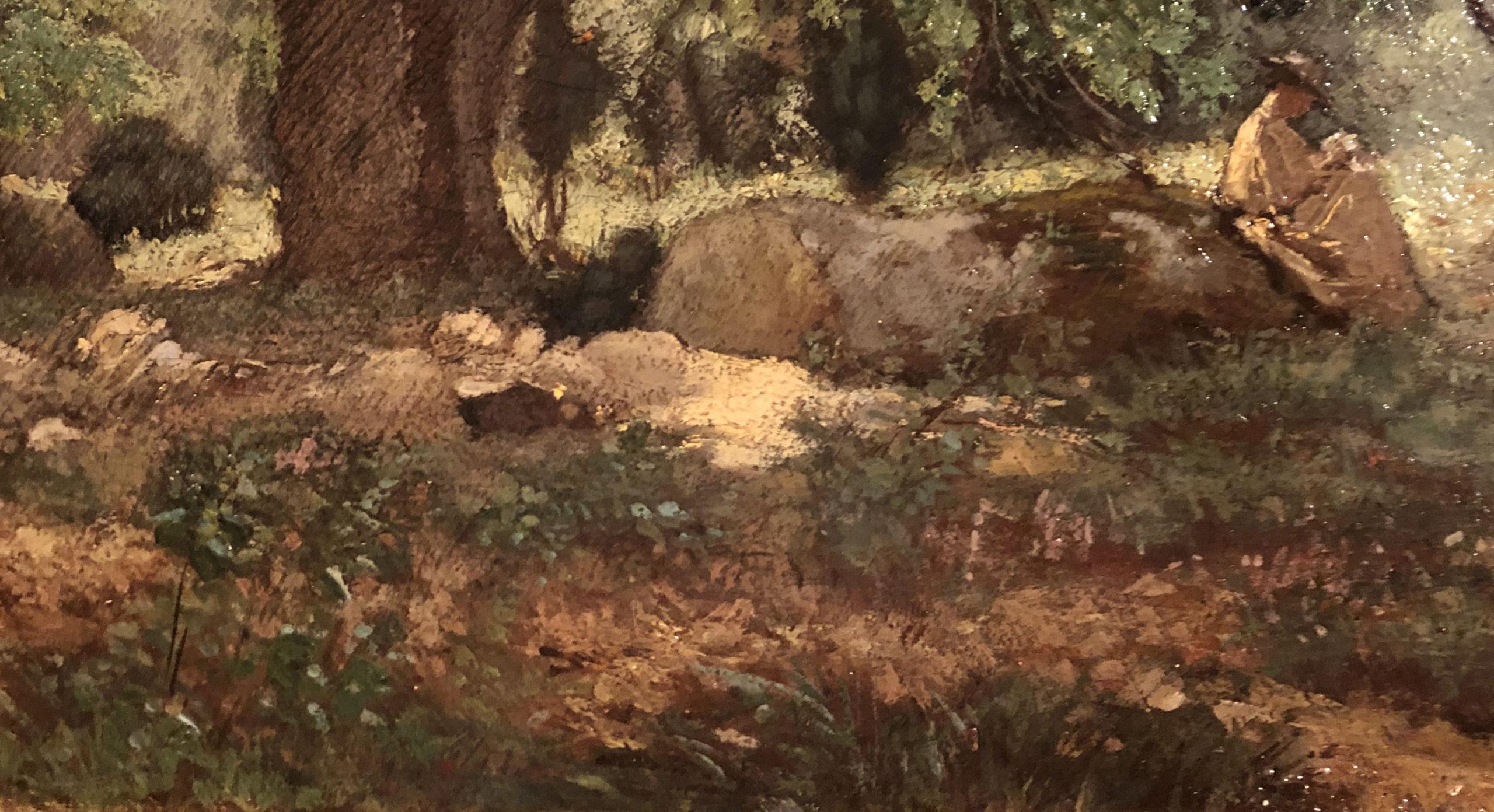 Théodore Rousseau, Madame Rose en forêt, (détail) Huile sur toile, (détail) Coll. part.