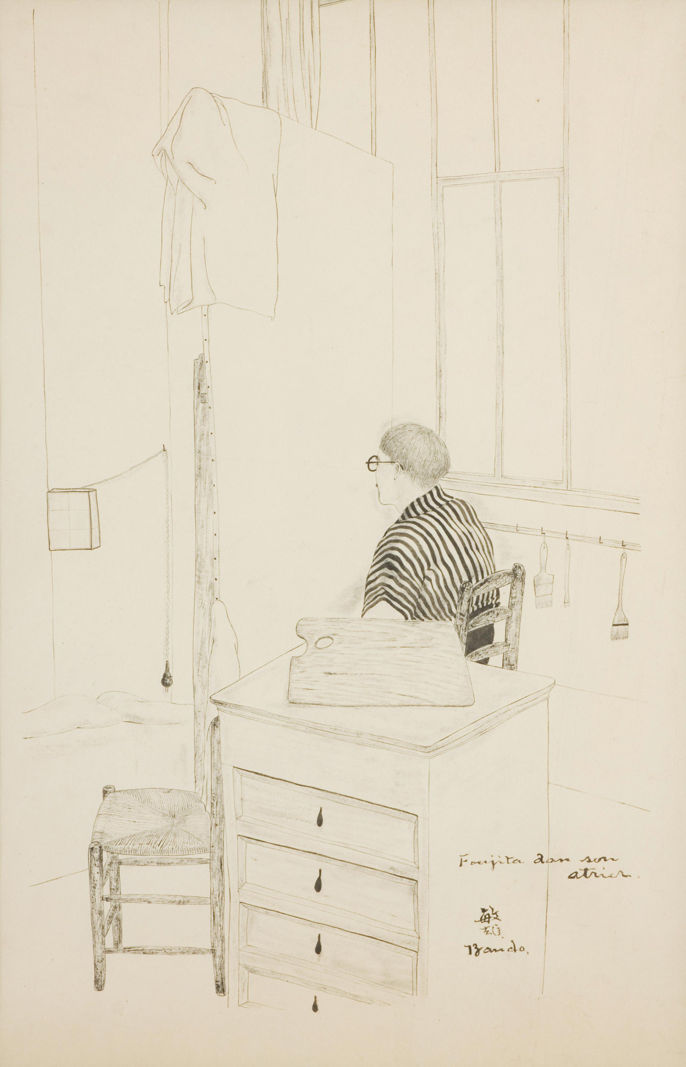 BANDO Son ami Foujita au travail 1923 Encre sur papier Coll. part.