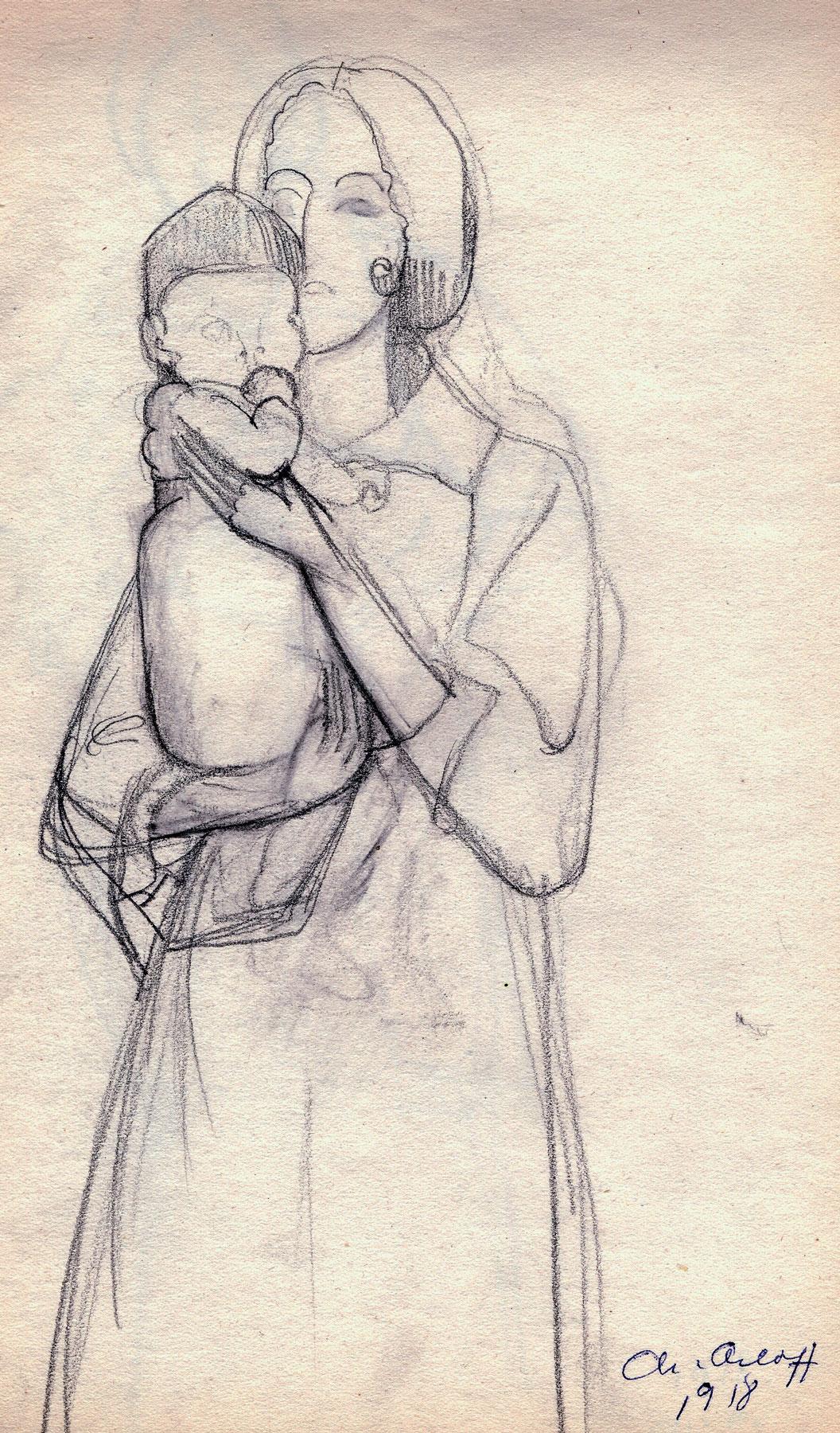 Maternité 1918 – Dessin au crayon noir sur papier Coll. part.