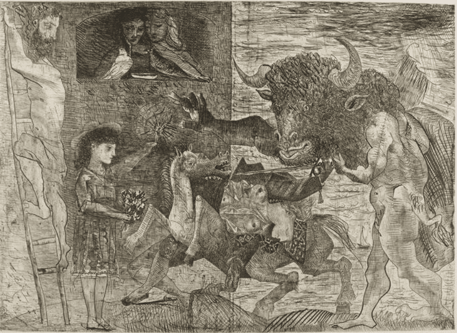 Pablo Picasso La Minotauromachie 1935 Eau-forte, grattoir et burin, 49,5x69,7cm, imprimée par Roger Lacourière, en six états et tirée en 55 exemplaires sur papier vergé Montval, Musée Picasso, à Barcelone, Moma, à New York, Musée Picasso, à Paris.