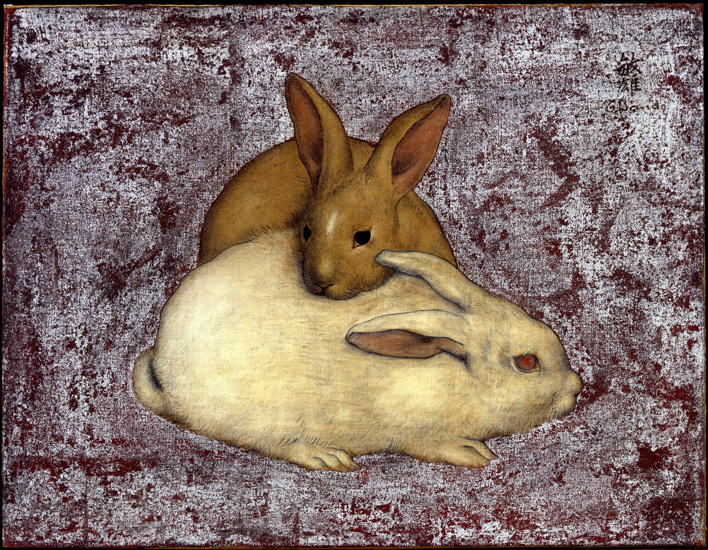 BANDO Les deux lapins Huile sur toile et feuilles d'argent Coll. part.