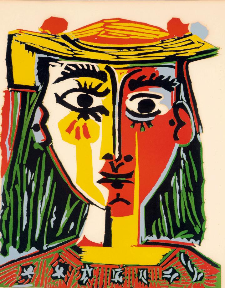 Pablo Picasso Buste de Femme au Chapeau (Bloch 1072; Baer 1318) Linogravure en couleur sur Arches, 1962, tire à 50 exemplaires avec approximativement 20 tirages d'artiste, publié par la galerie Louise Leiris, à Paris, en 1963 63 x 53cm Coll. Part.