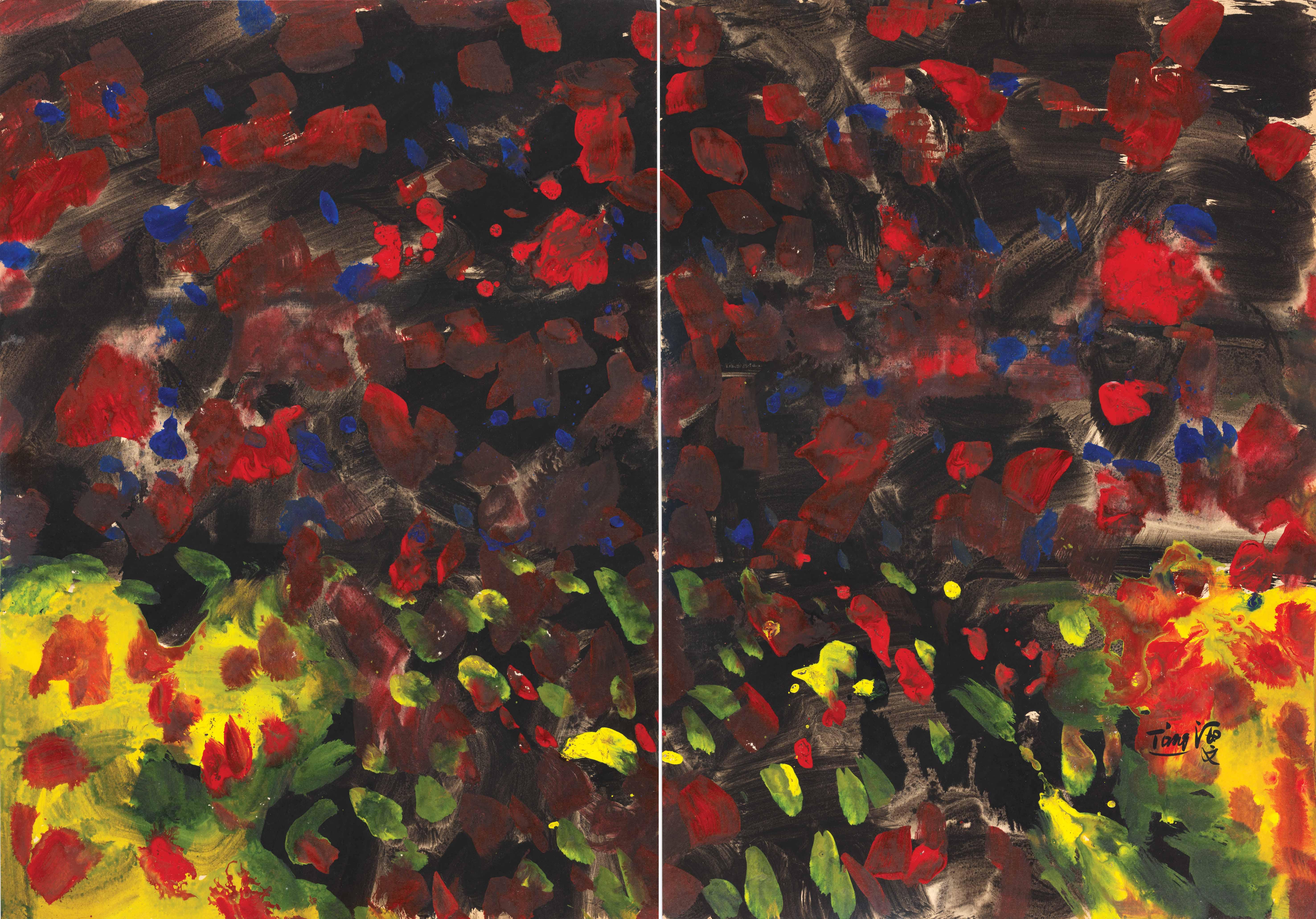 Sans titre-1968:1969, mix media sur Kyro, diptyque, 70x100 cm