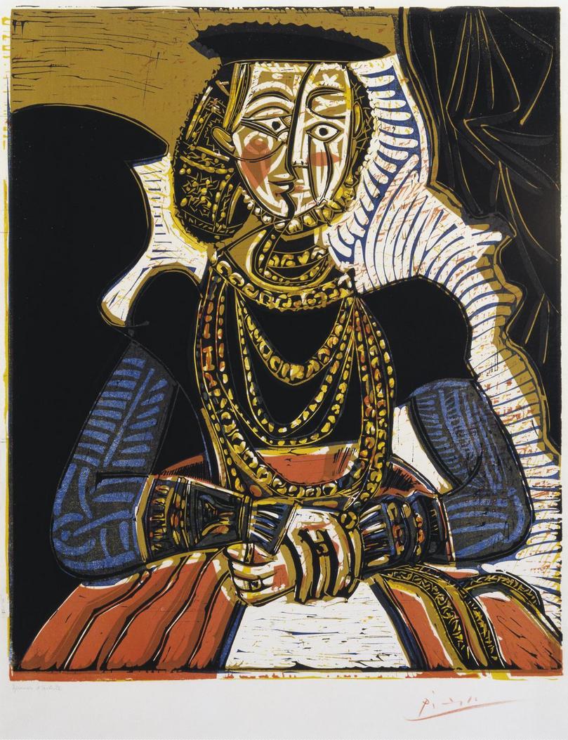 Pablo Picasso Buste de femme d'après Cranach le Jeune Linogravure sur papier, 64,5 x 53,3 cm tirée en 50 exemplaires numérotés et signés et approximativement 15 épreuves d'artiste, publié par la Galerie Louise Leiris, Paris