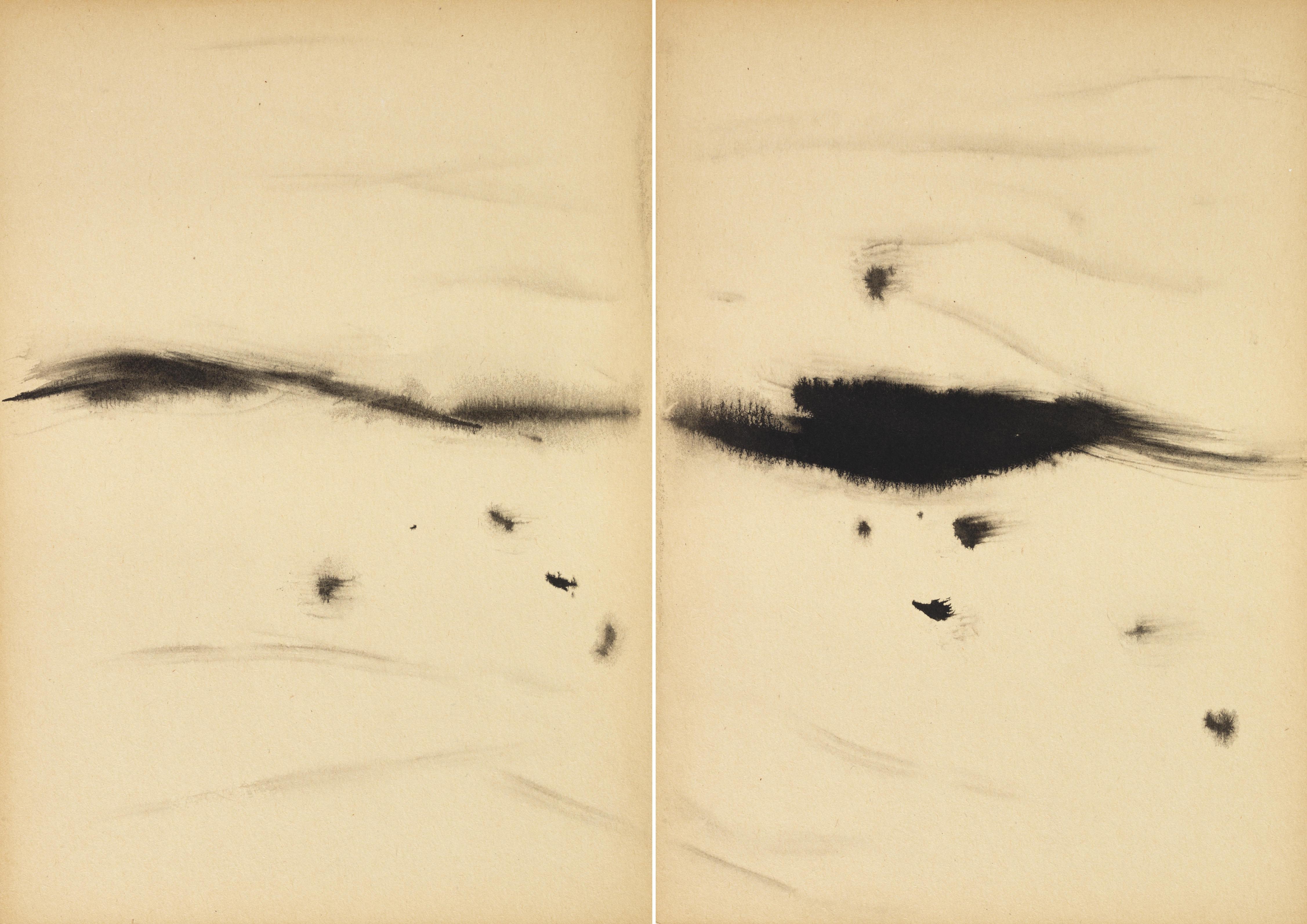 Sans titre, circa 1968, encre sur carton Kyro, diptyque, 29,7x42 cm