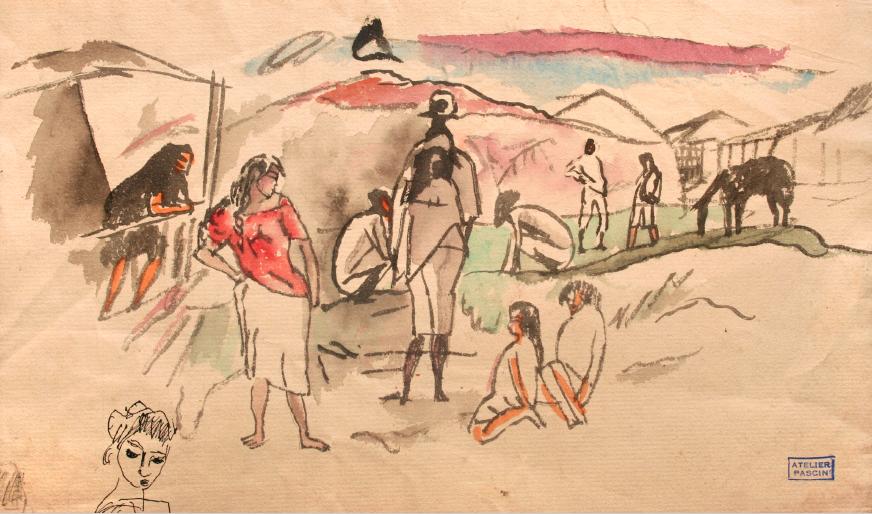 Pascin – Scène de rue USA 1917/18, aquarelle et encre sur papier © Comité Pascin, Paris