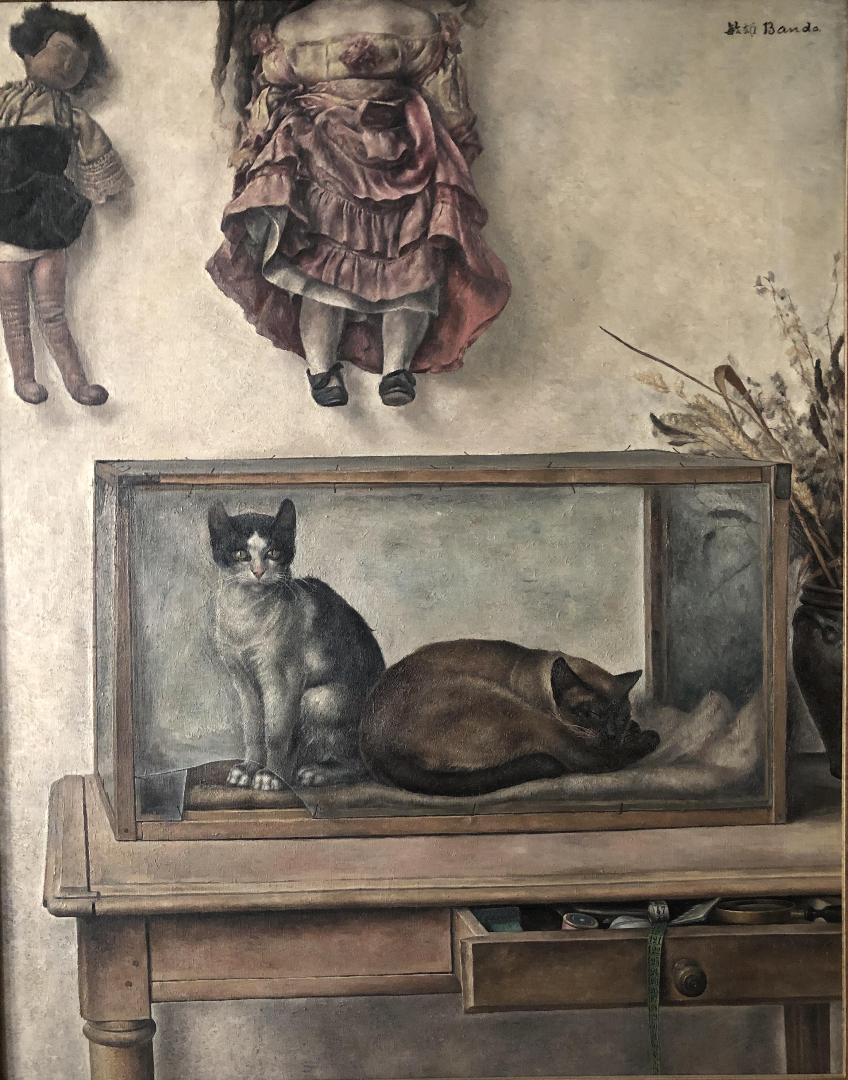 BANDO Nature morte aux chats 1930 Huile sur toile Coll. part.