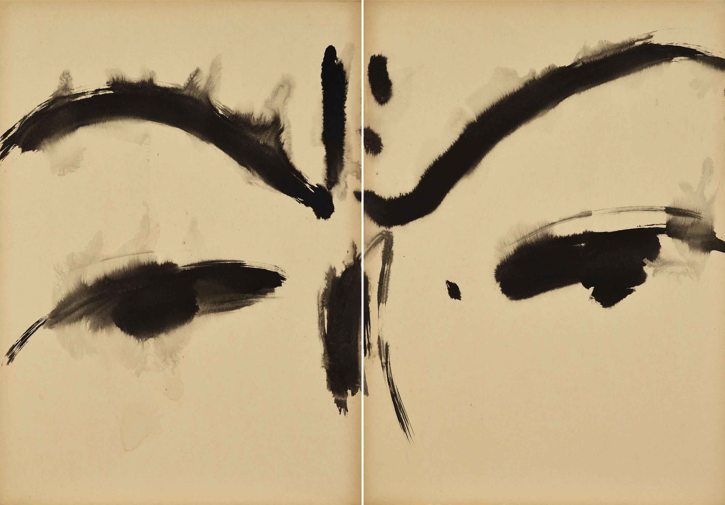 Sans titre, visage-paysage, circa 1968, encre sur carton Kyro, diptyque 70x100 cm