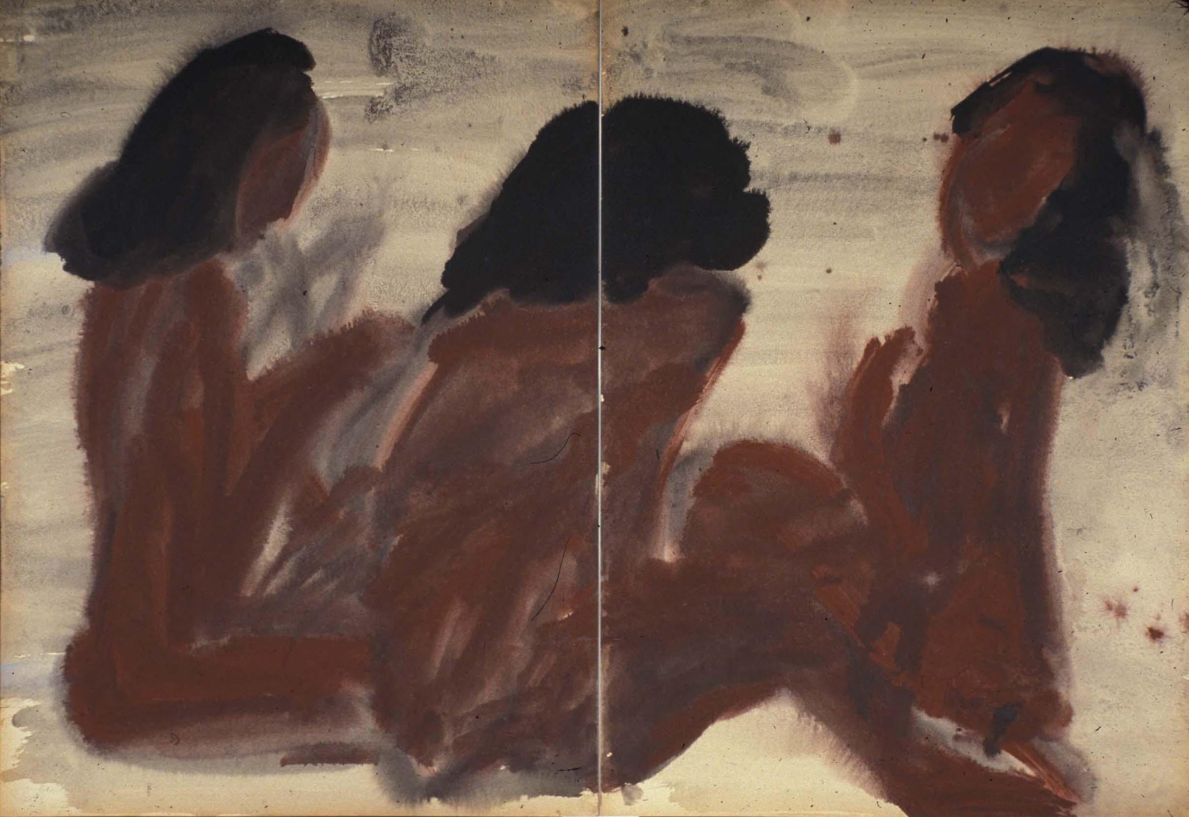 D'où venons nous ? Hommage à Gauguin 1968, aquarelle et encre sur carton Kyro, diptyque, 70x100 cm