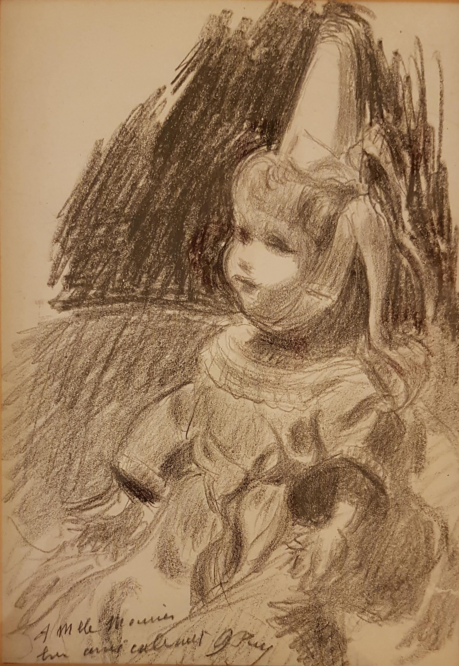 Poupée bigouden à la coiffe, 1920, Fusain sur papier, 40 x 30 cm, collection particulière