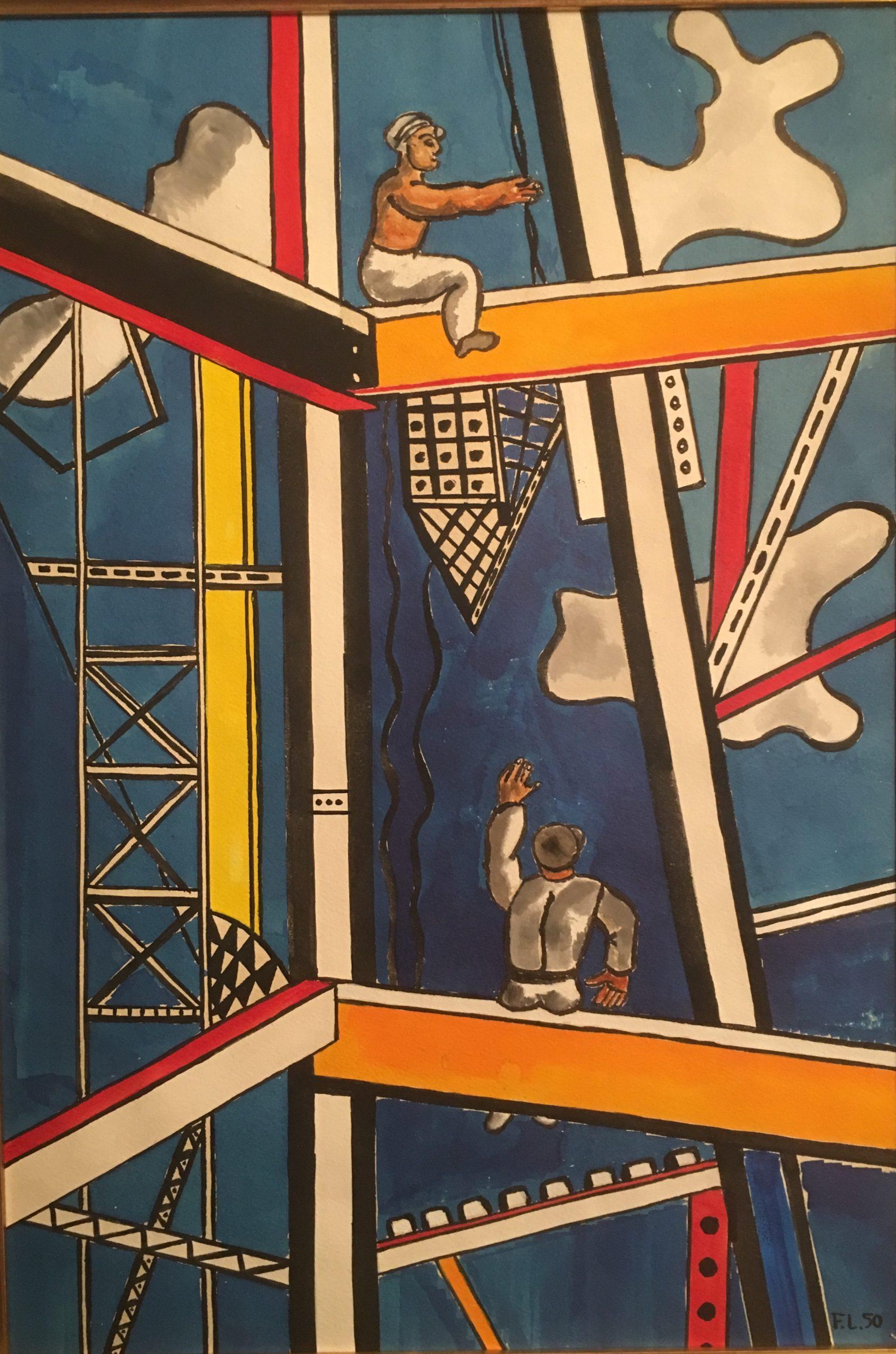 Fernand Léger - Constructeurs fond bleu 1950 Gouache et encre de chine sur papier 54 x 38cm Coll. part.