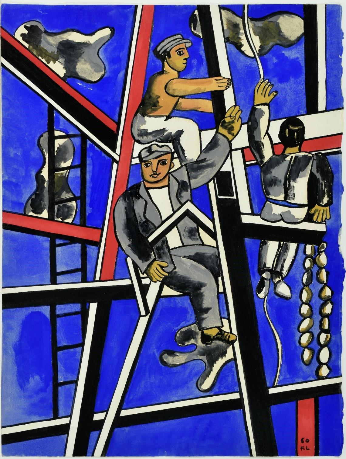 Fernand Léger - Étude pour les constructeurs 1950 Gouache sur papier 37x28cm Coll. part.