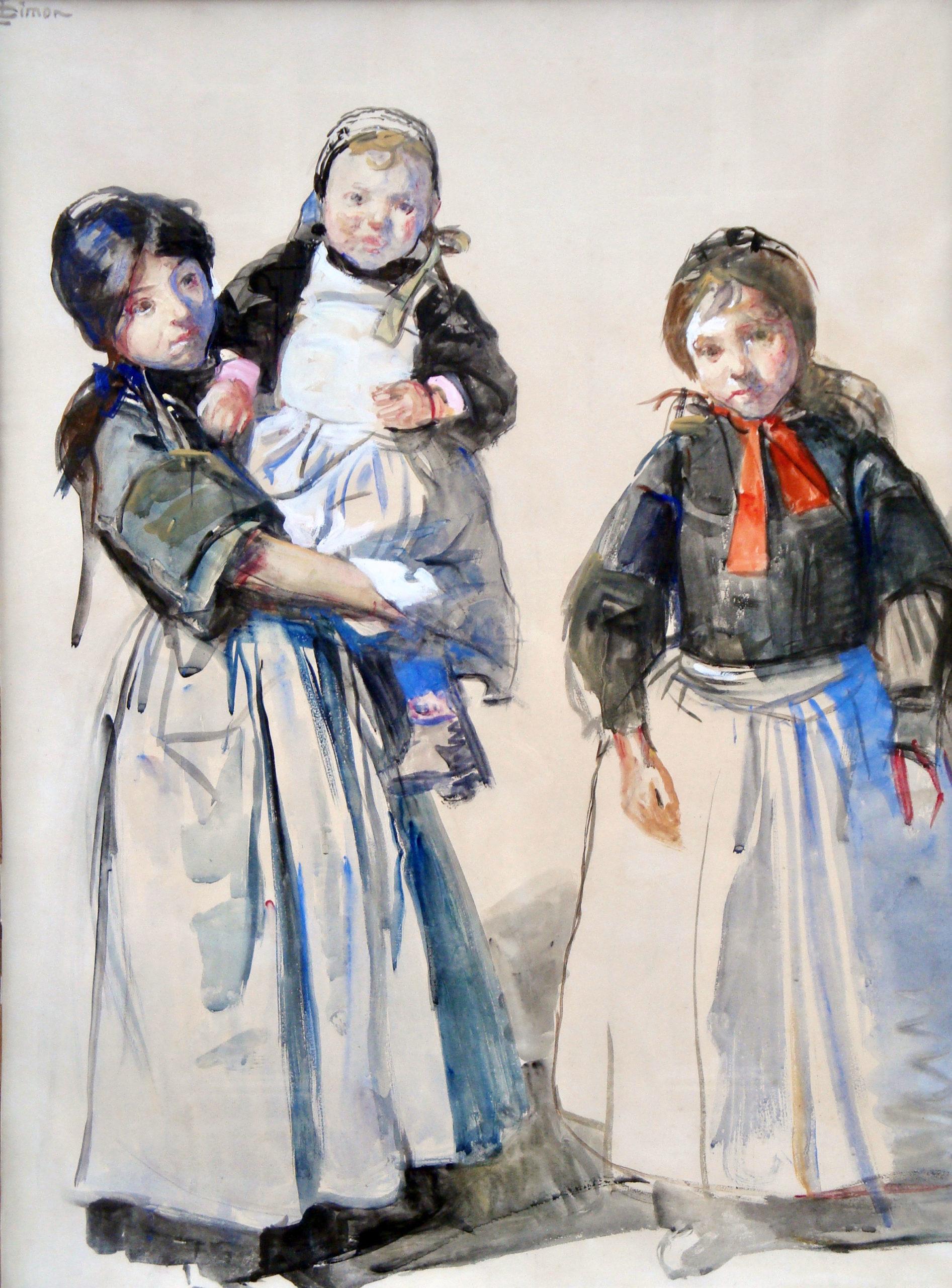 Lucien Simon-Trois jeunes bretonne - 1900 © document de l'expert