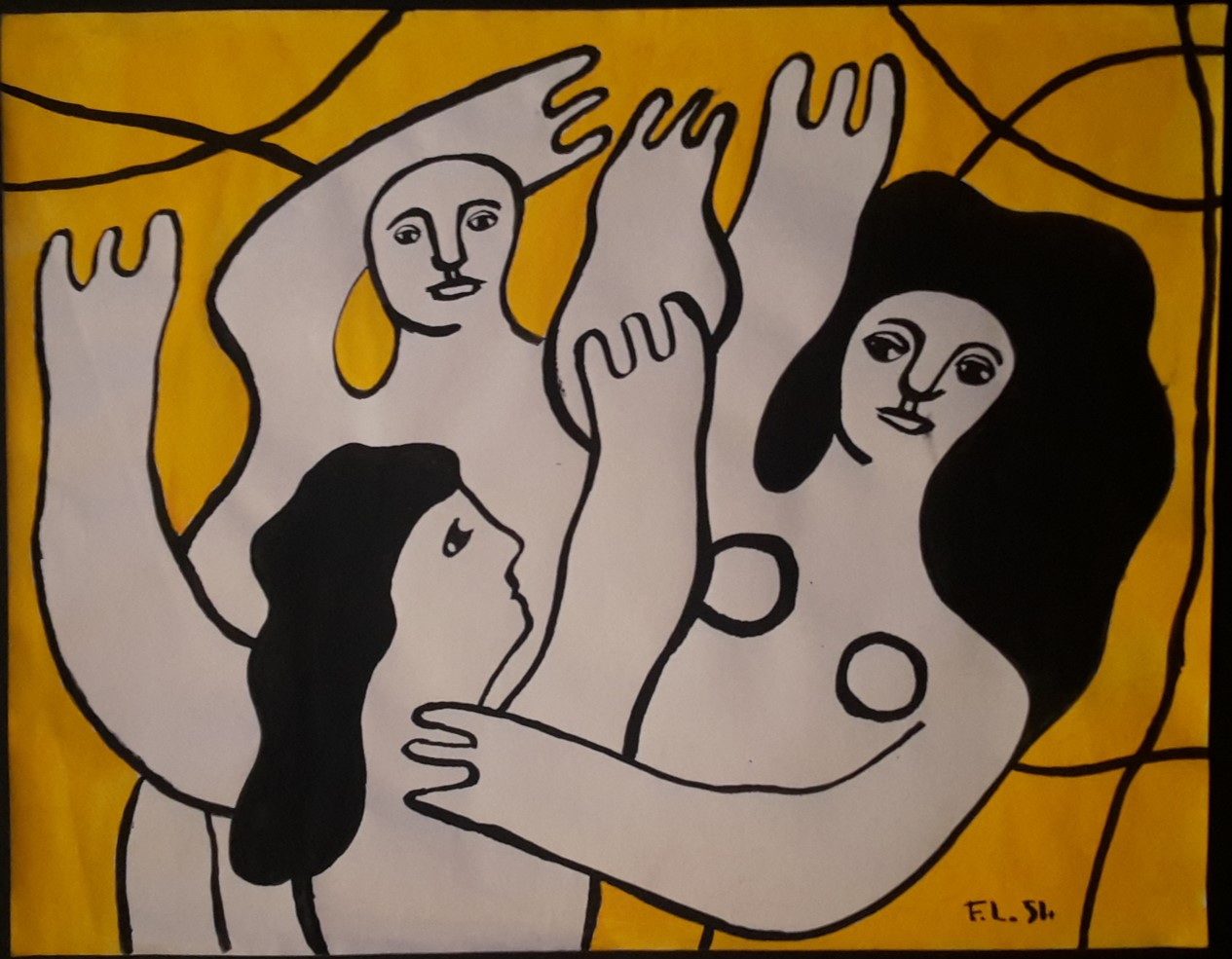 Fernand Léger- Sao Paulo fond jaune 1954 Gouache sur papier 29,5 x 37,5 cm Coll. part.