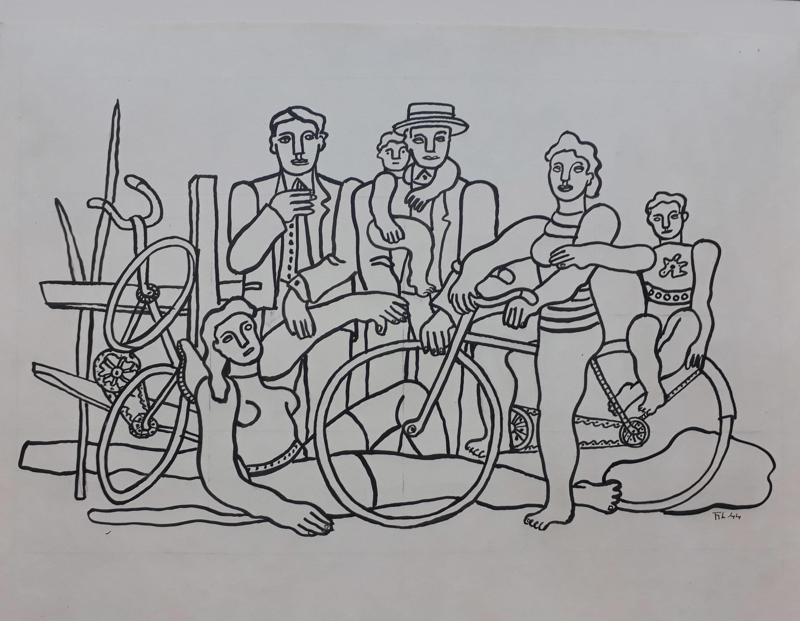 Fernand Léger - Les loisirs 1944 Encre sur papier 32 x 44cm Coll. part.