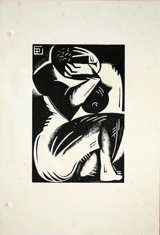 Gallien Bois gravé 1922 Nu prétexte (suite des 20 nus)