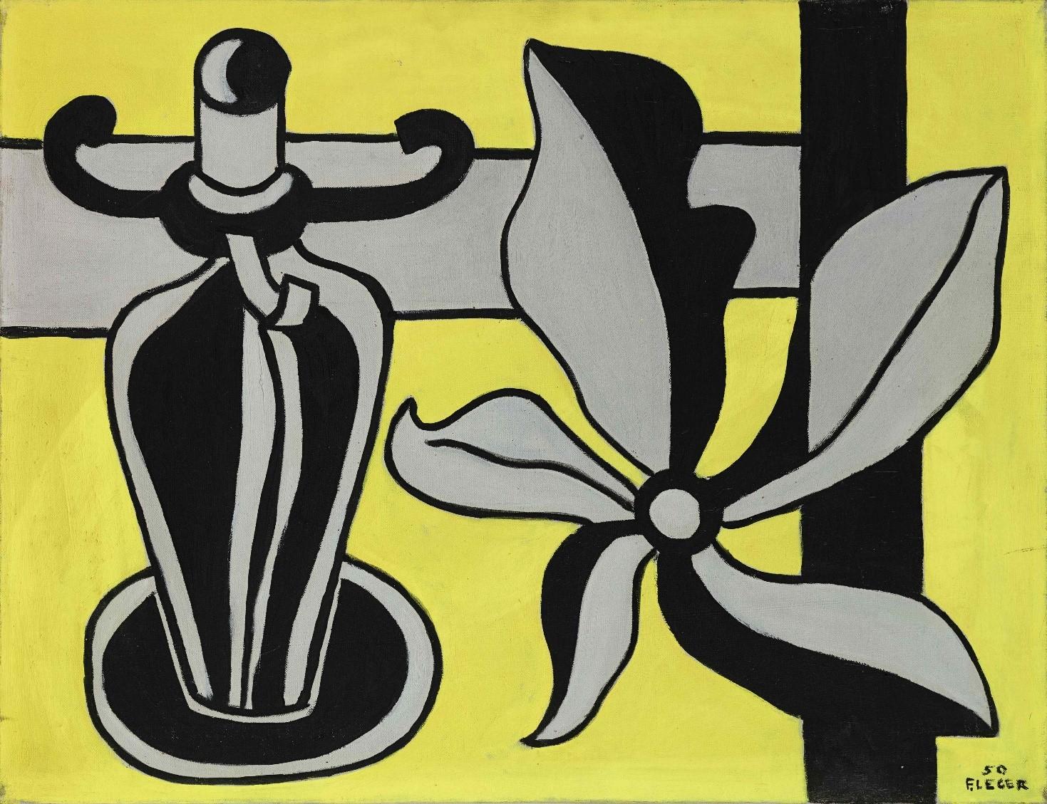 Chandelier sur fond jaune 1950 Huile sur toile H 50.3 x 65 cm Coll. part.