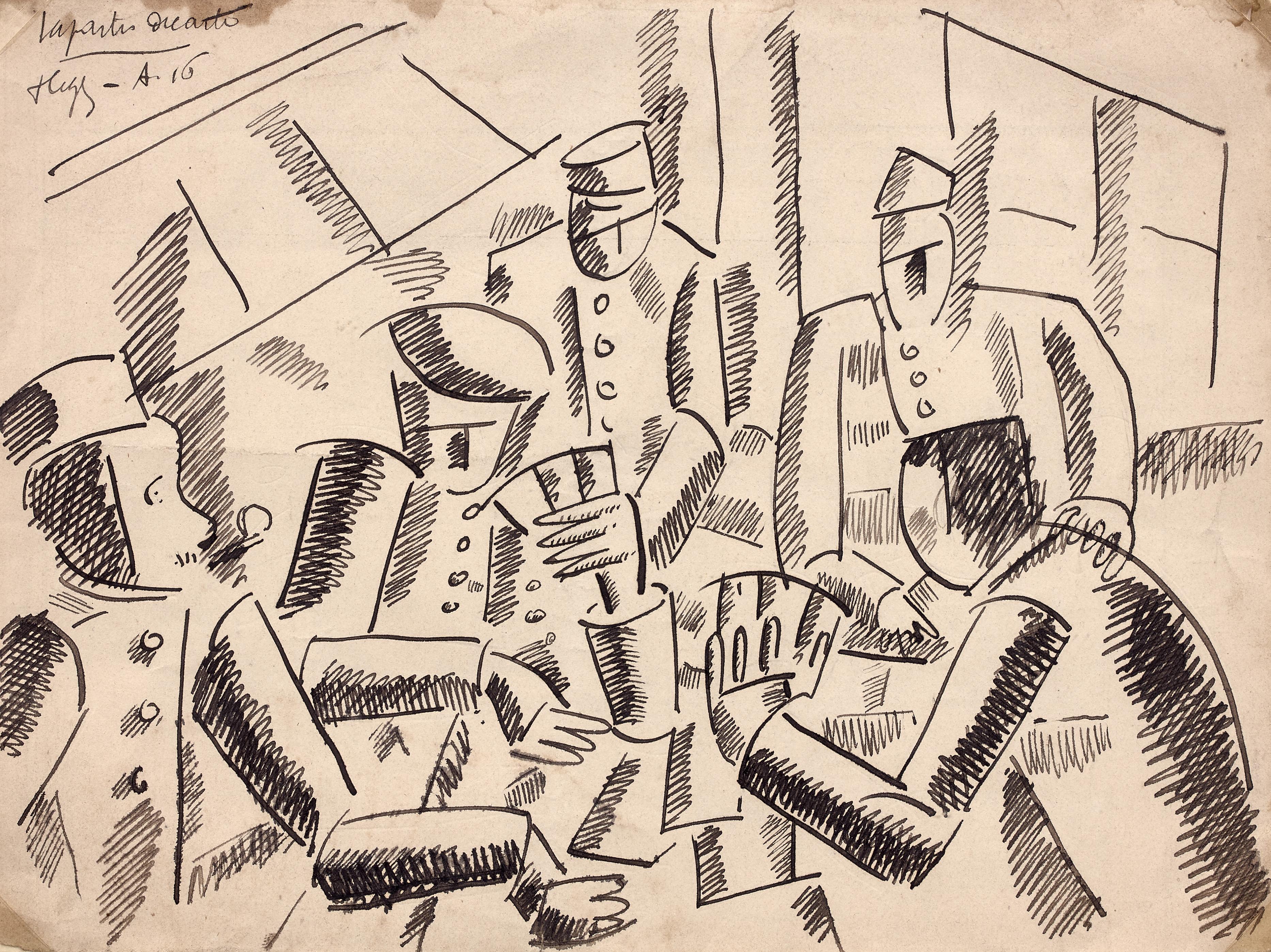 Fernand Léger-Partie de cartes Verdun 1916 Encre sur papier 16,8 x 22,40cm Coll. part.
