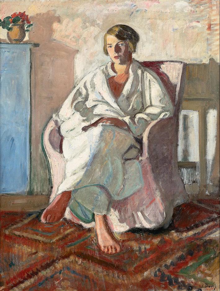 """Jean Puy """"Portrait de jeune femme assise dans son intérieur (Dédé de Belle-Ile), 1928"""". Huile sur toile, 81 x 60 cm, Coll. part. © Archives de l'expert"""