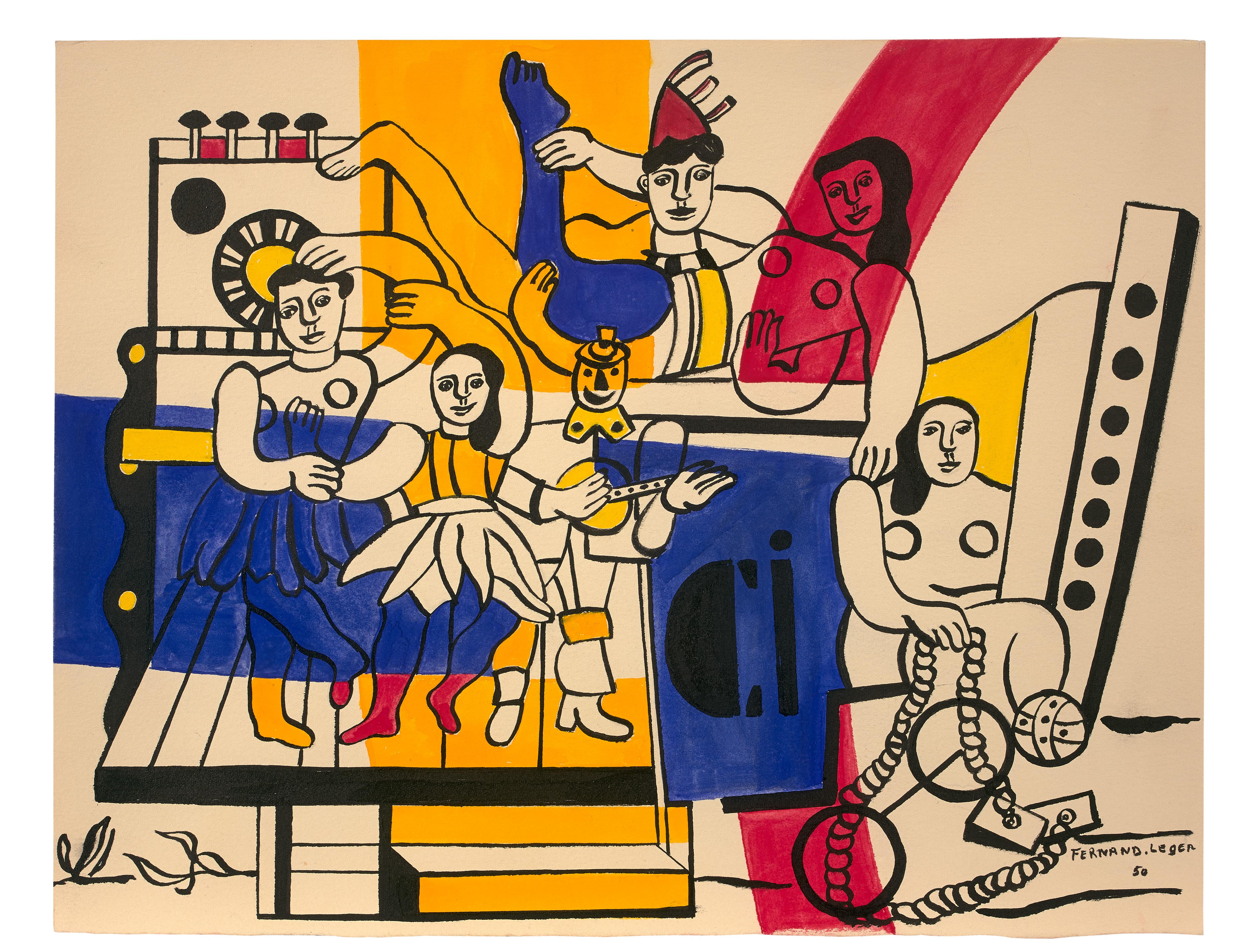 Étude pour la Grande parade 1950 Gouache sur papier 29 x 37cm Coll. part.