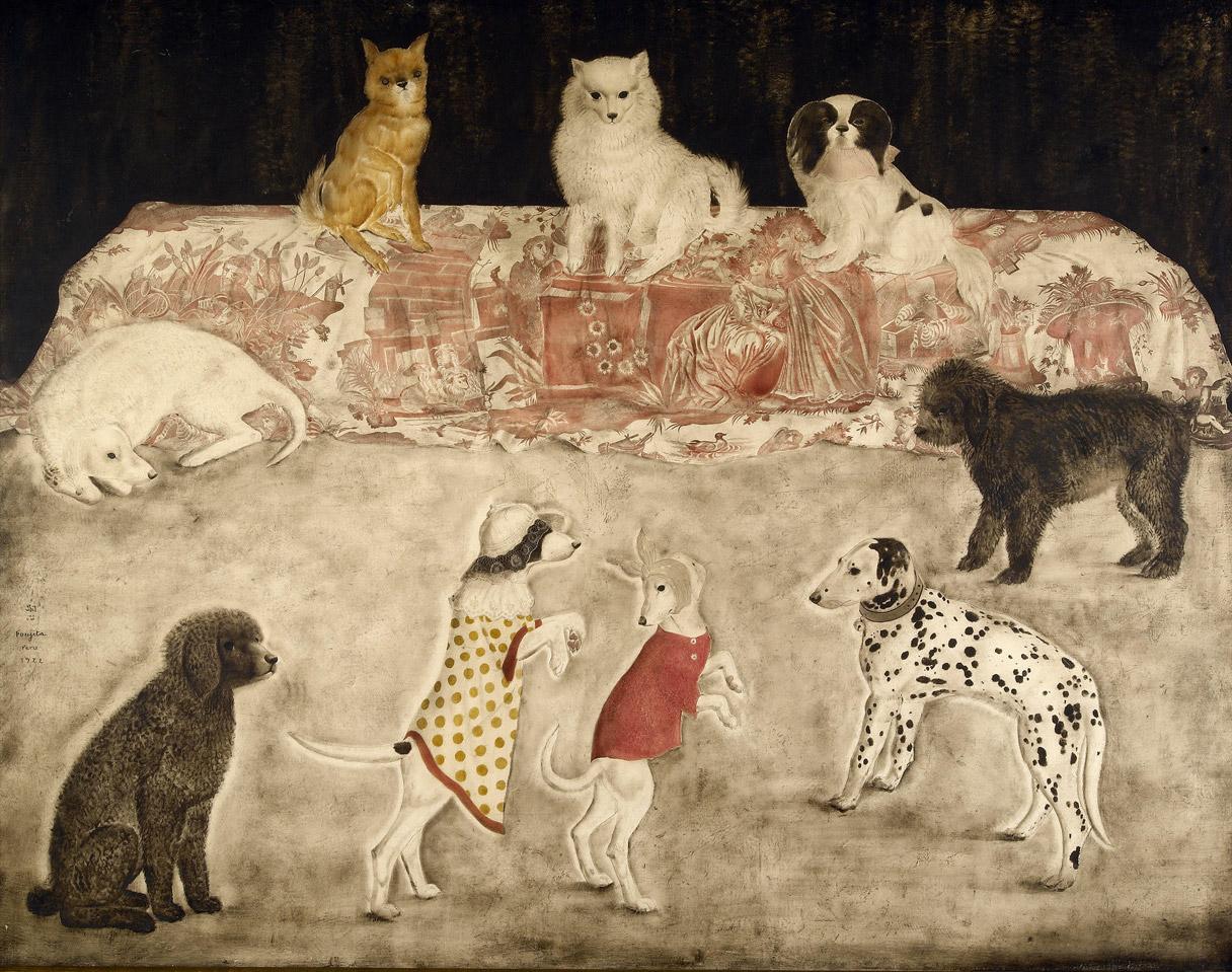 Léonard FOUJITA Carnaval des chiens, 1922 - Huile sur toile, 113x143cm, Coll. part© Fondation Foujita/ ADAGP, 2020 - Archives artistiques du Catalogue Raisonné de l'Oeuvre de Foujita (détail)