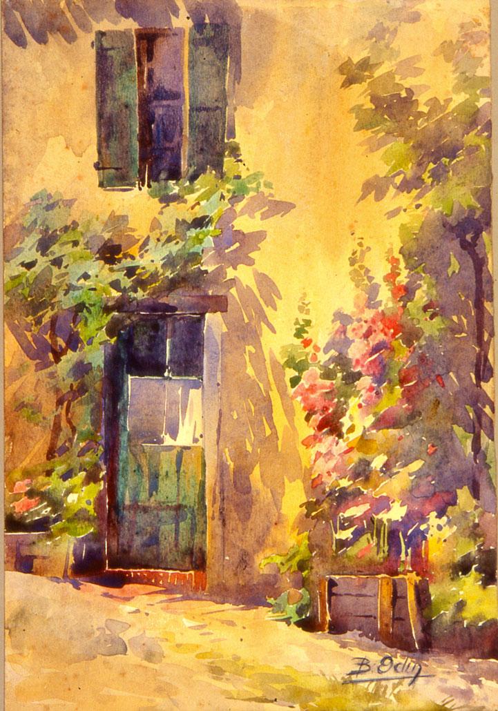 Blanche Odin - Devant de porte, aquarelle sur papier, coll. part.