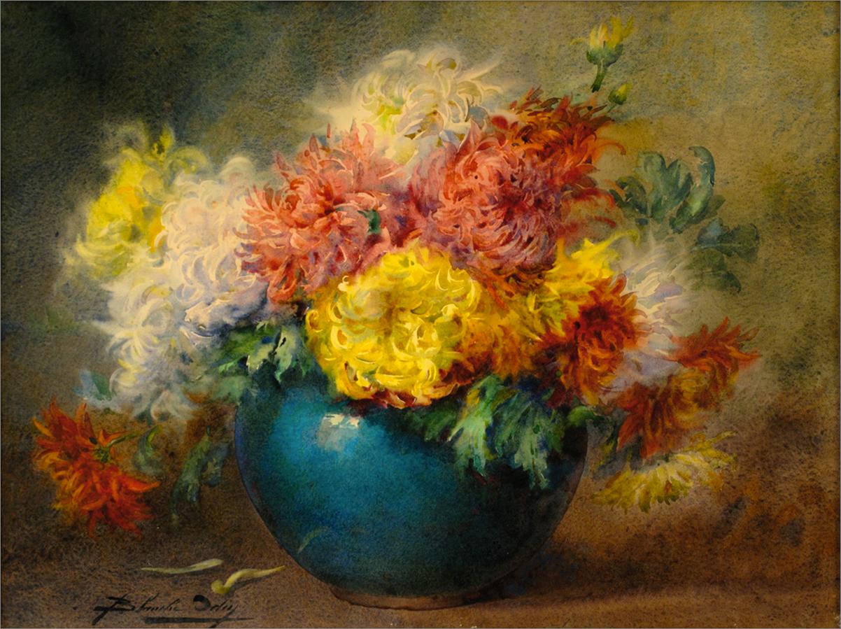 Blanche Odin-Bouquet de chrysanthèmes, aquarelle sur papier, coll. part.