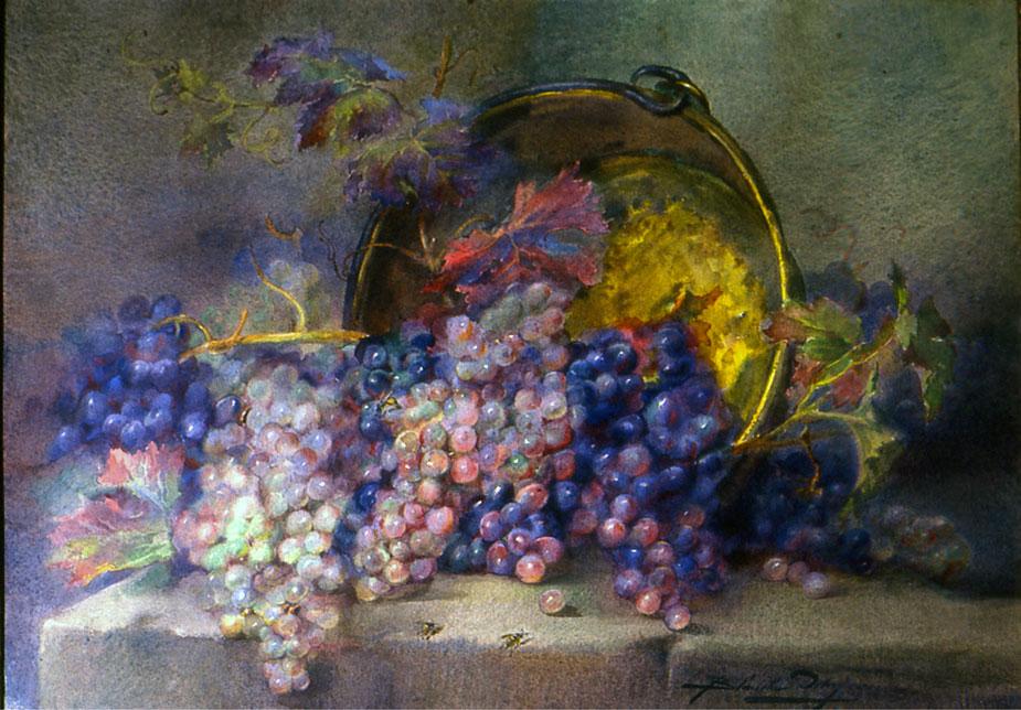 Blanche Odin - Nature morte aux raisins, aquarelle sur papier, coll. part.