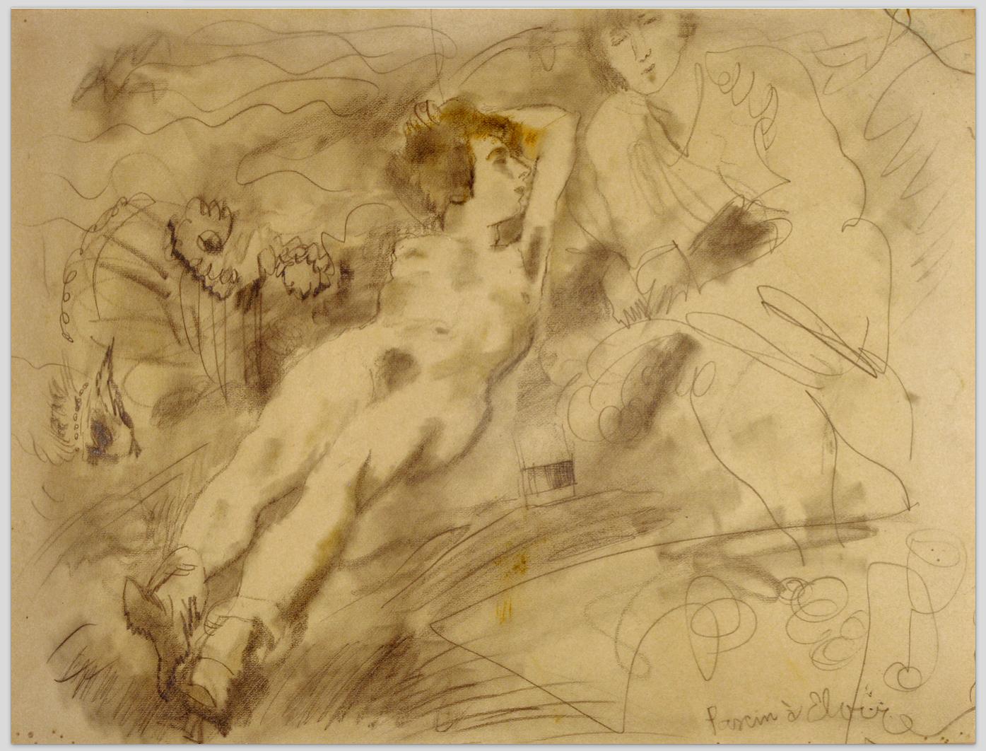 Pascin à Elvire, Paris 1930 Crayon et fusain sur papier, 48x61cm © Comité Pascin, Paris